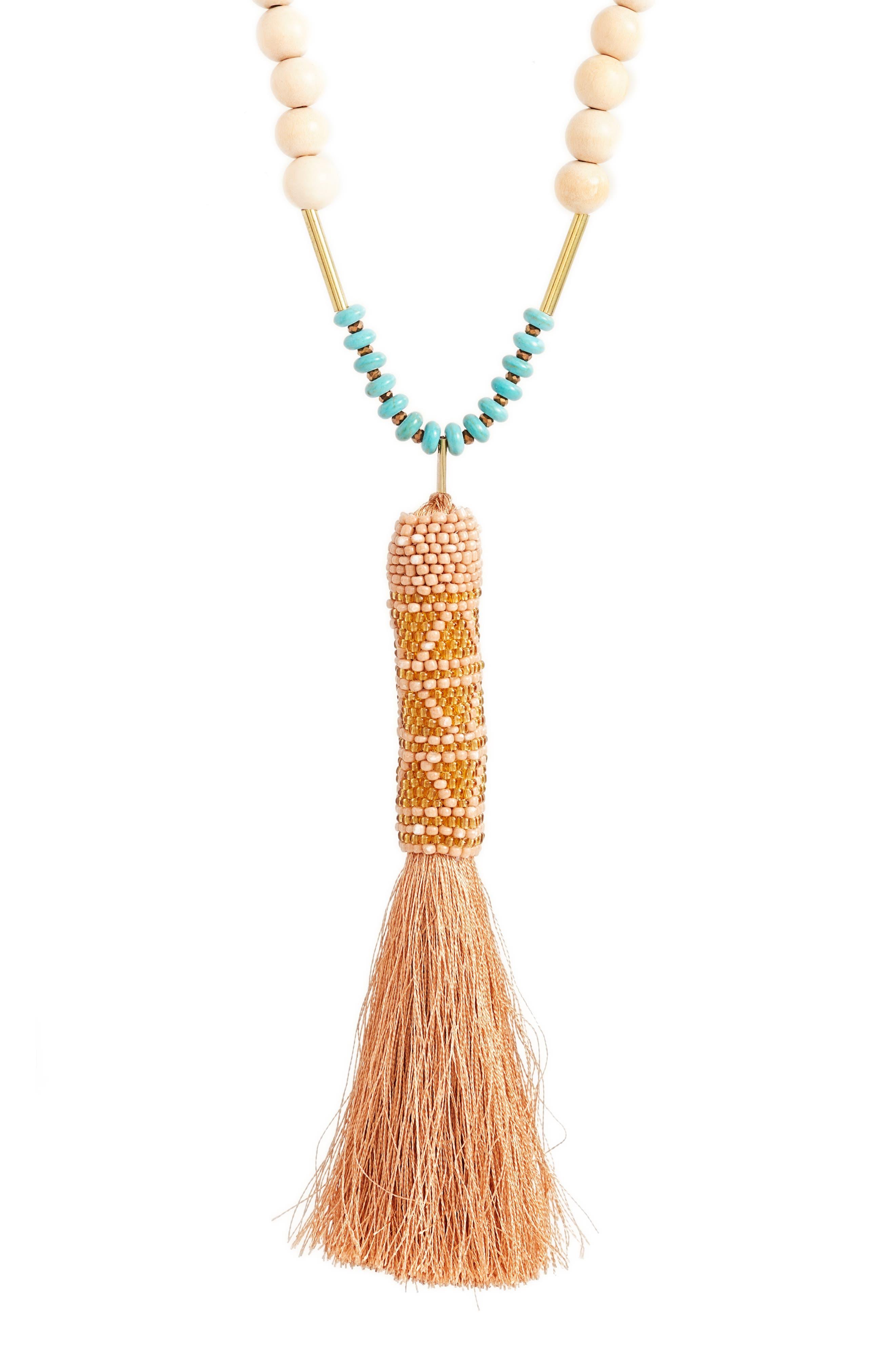 Tassel Pendant Necklace,                             Alternate thumbnail 2, color,                             Blush