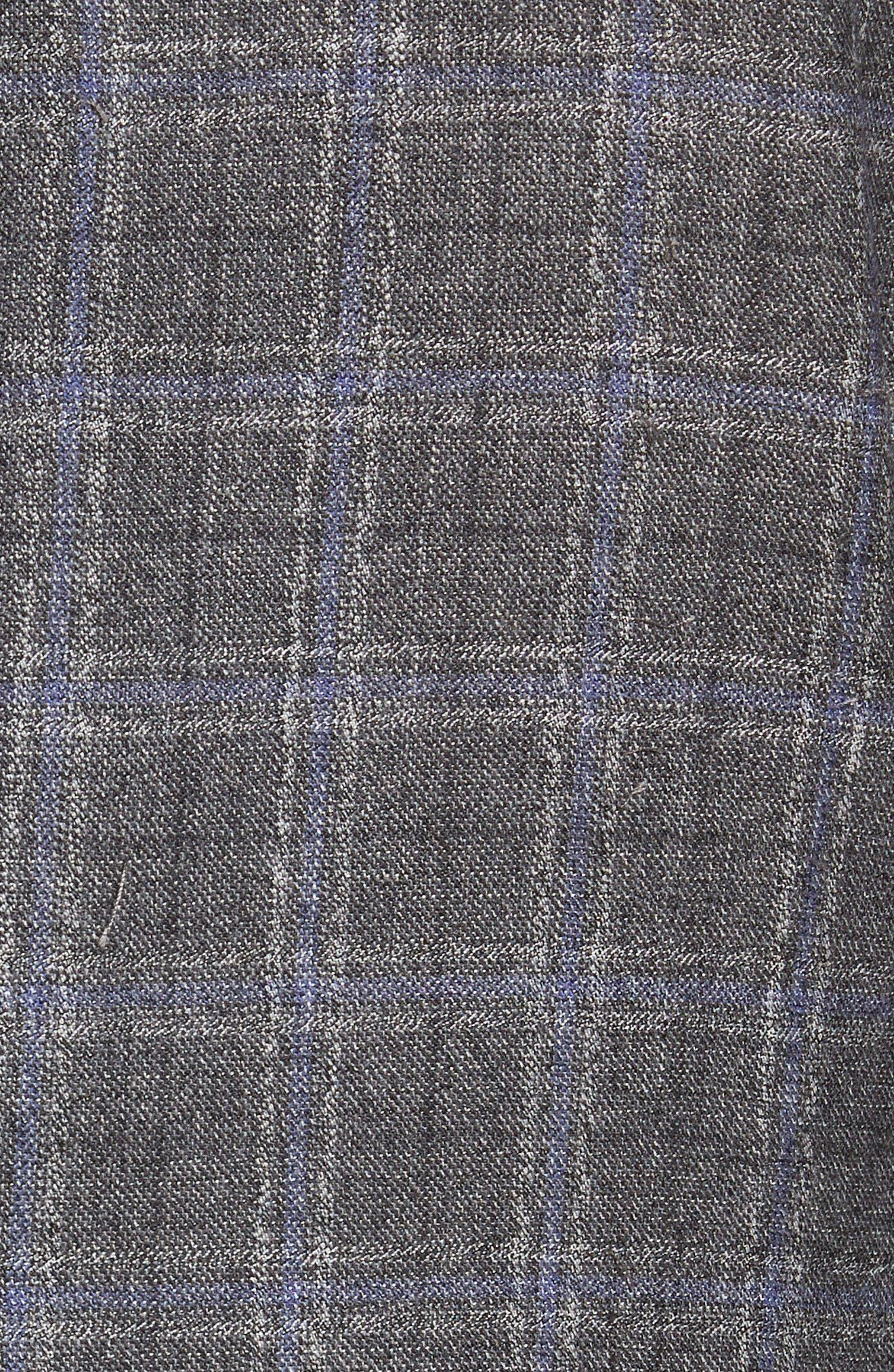 Tivoli Trim Fit Plaid Wool Sport Coat,                             Alternate thumbnail 5, color,                             Light Grey