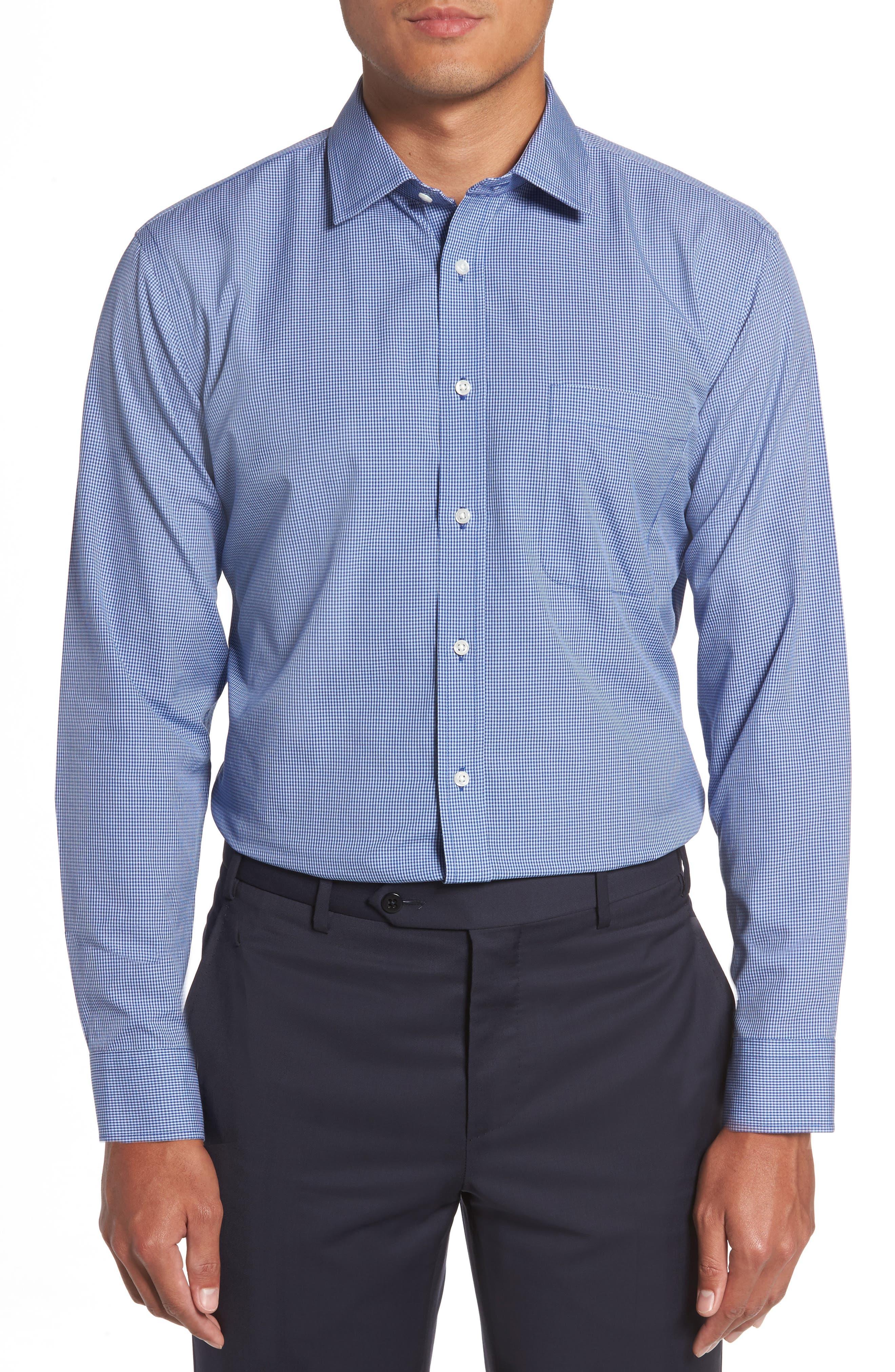 Smartcare<sup>™</sup> Trim Fit Check Dress Shirt,                             Main thumbnail 1, color,                             Blue Nautical