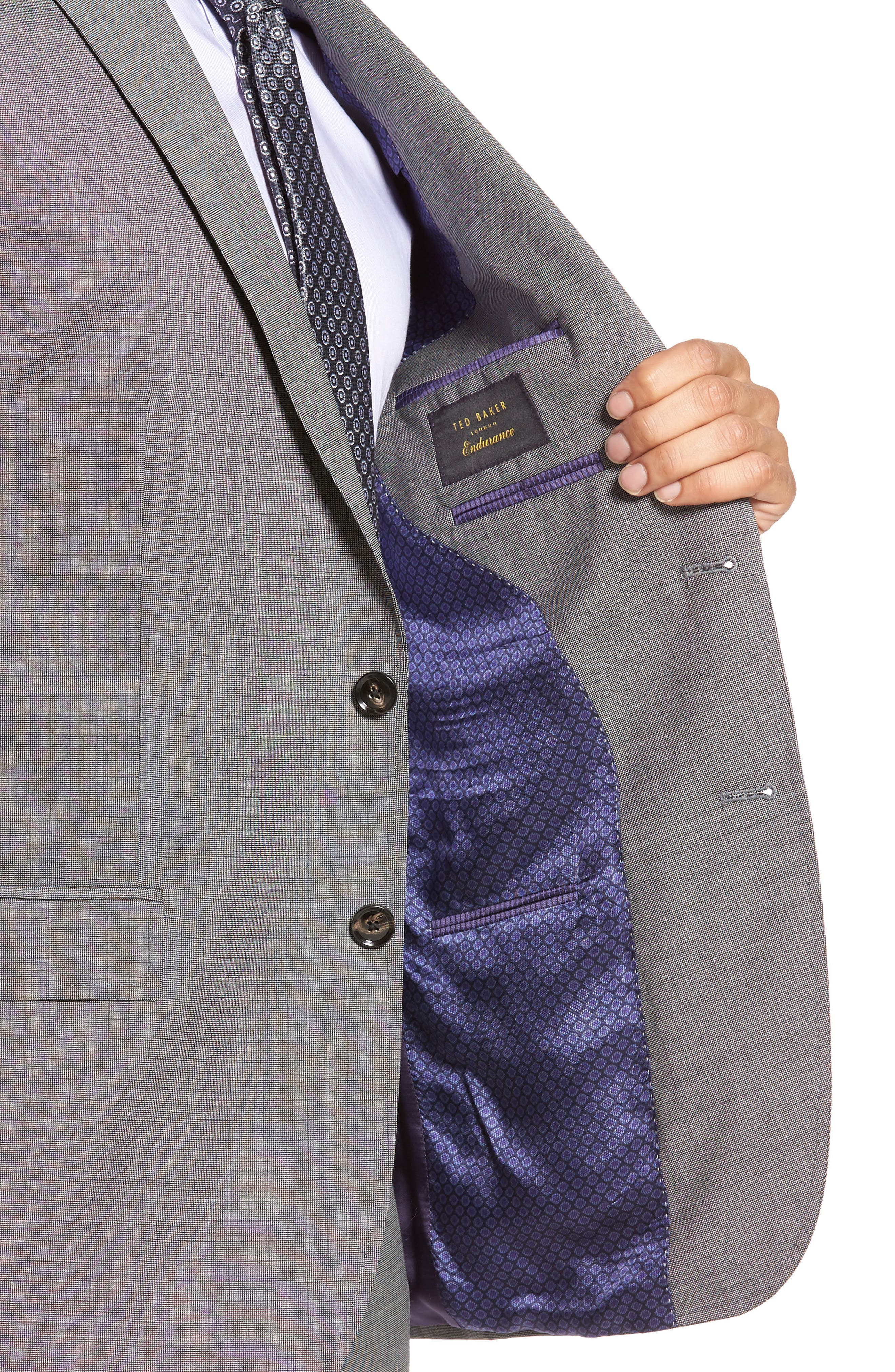 Jay Trim Fit Solid Wool Suit,                             Alternate thumbnail 4, color,                             Light Grey
