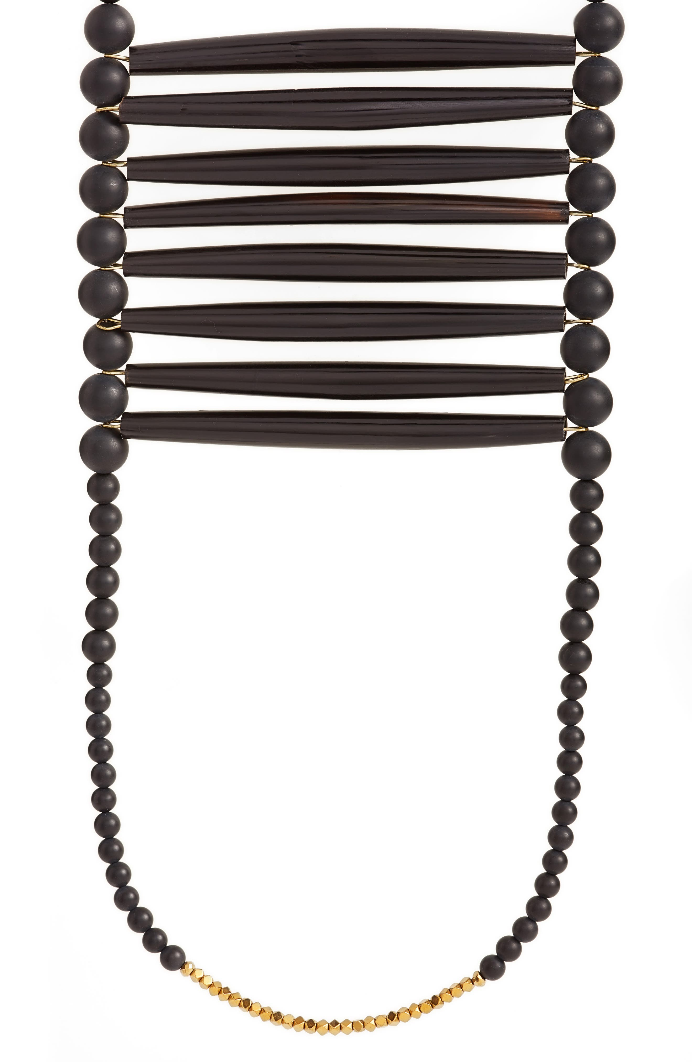 Into the Black Extra Long Beaded Necklace,                             Alternate thumbnail 2, color,                             Black