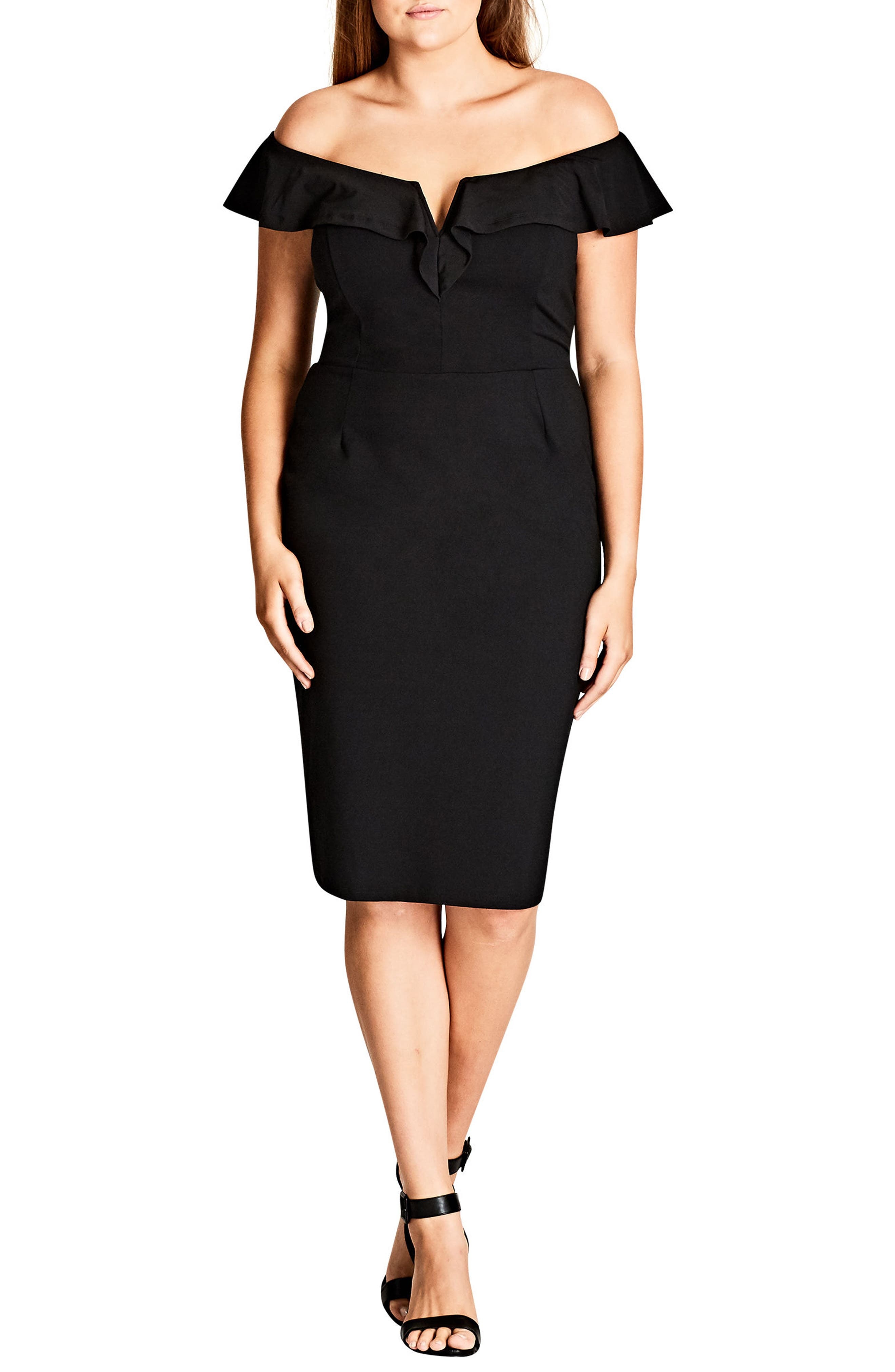 Alternate Image 1 Selected - City Chic Plunge Frill Sheath Dress (Plus Size)
