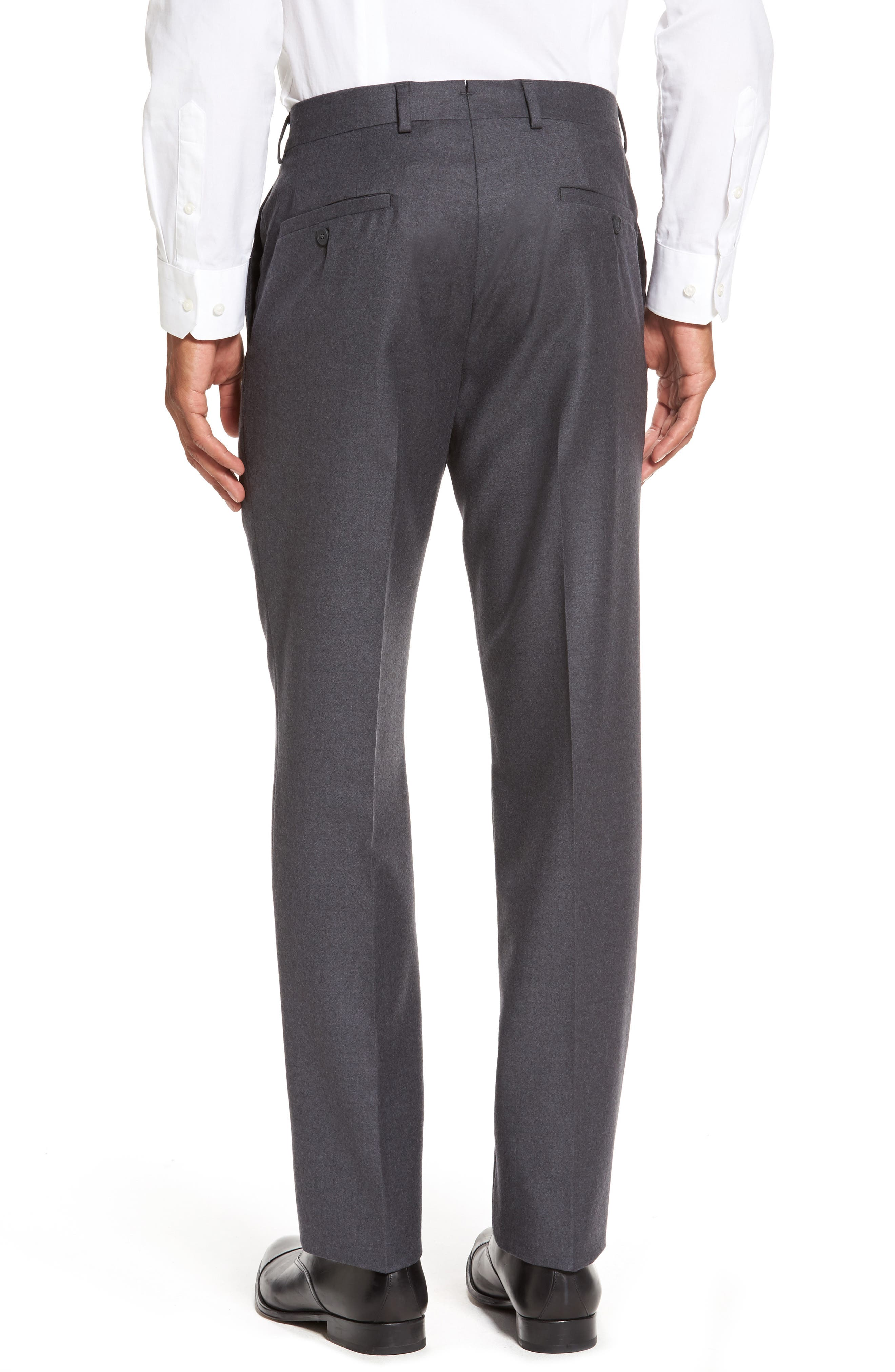 Alternate Image 2  - Nordstrom Men's Shop Flat Front Solid Wool Trousers