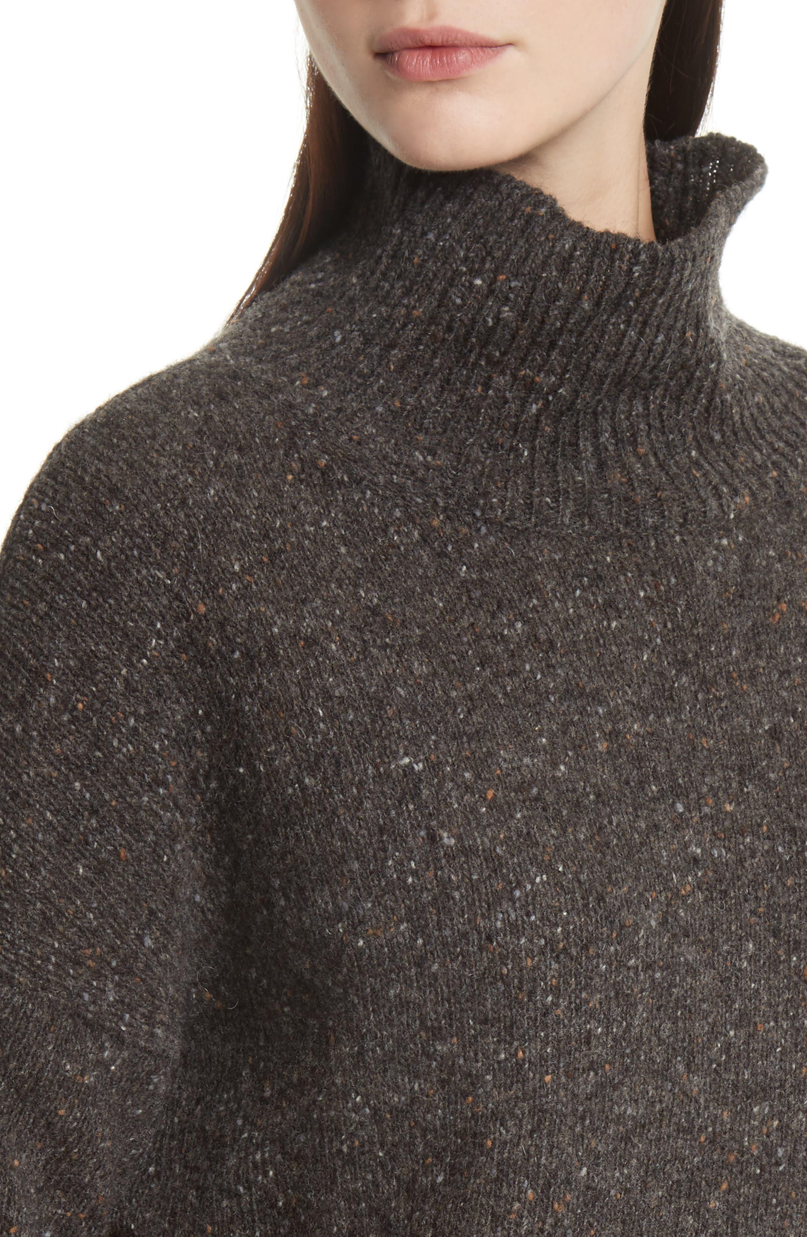 Cashmere Turtleneck Sweater,                             Alternate thumbnail 4, color,                             Charcoal