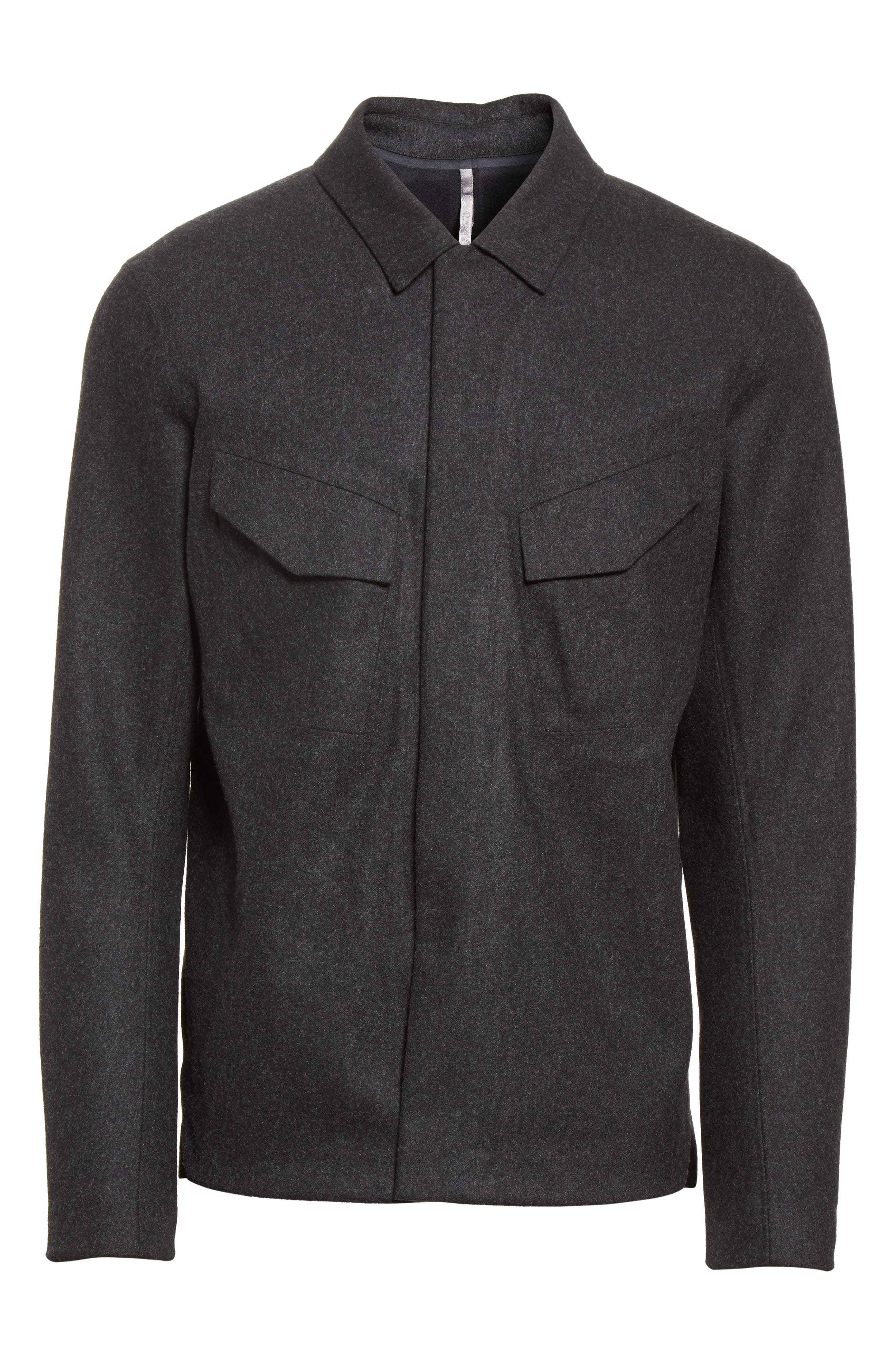 Haedn Shirt Jacket,                             Alternate thumbnail 6, color,                             Black Heather