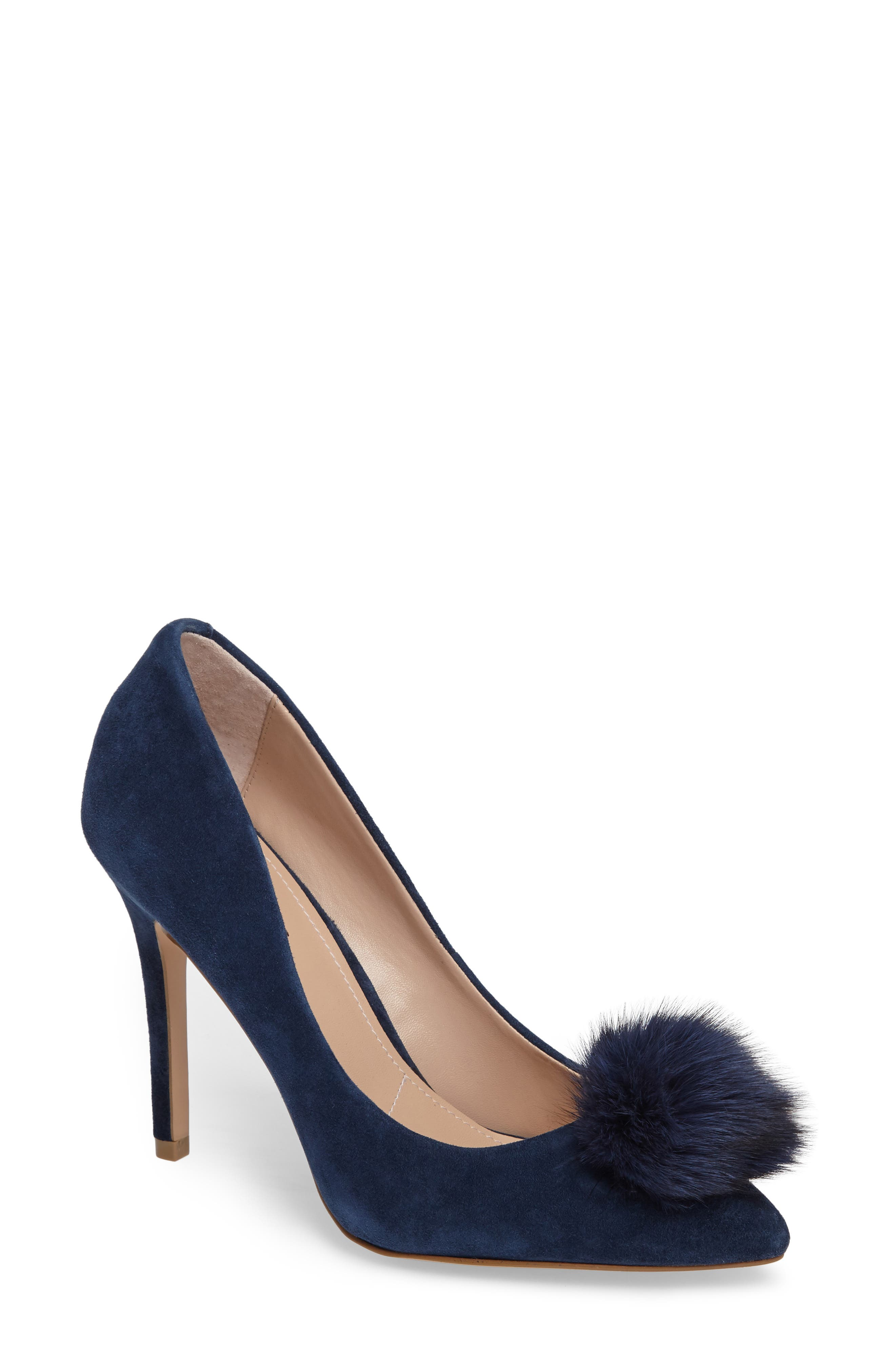 Pixie Pump with Genuine Fox Fur Pom,                             Main thumbnail 1, color,                             Midnight Suede