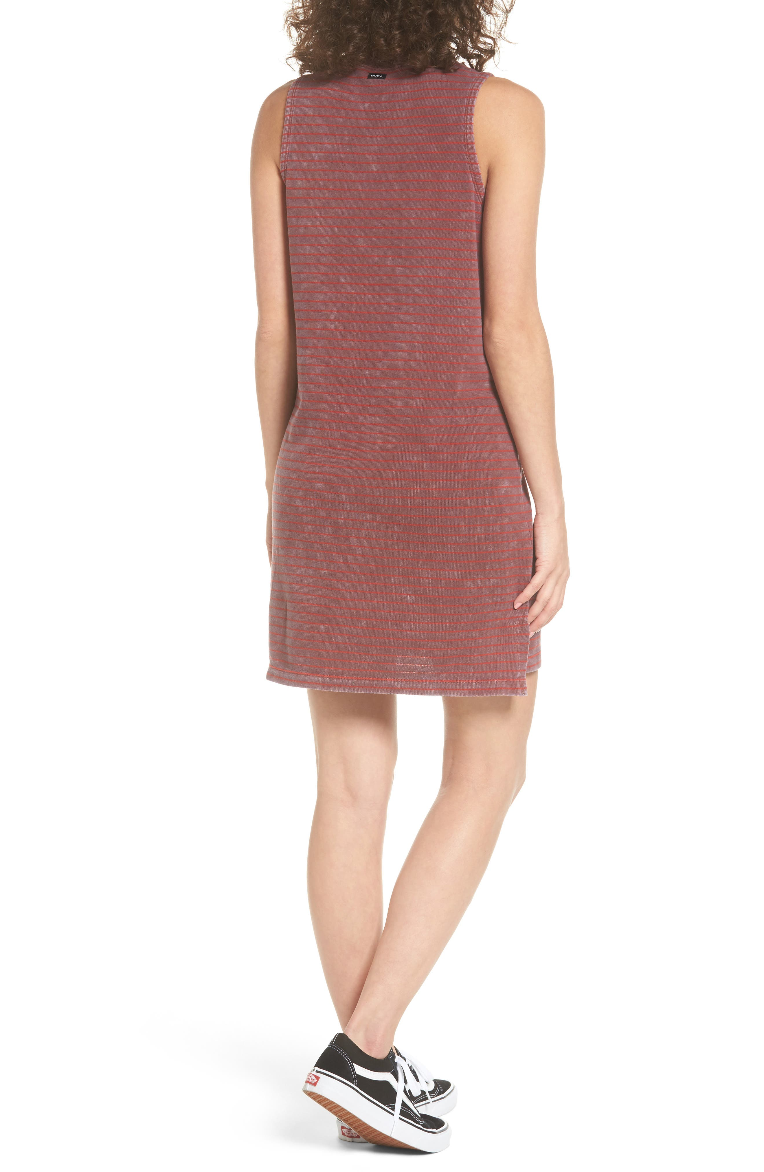 Double Down Stripe Shift Dress,                             Alternate thumbnail 2, color,                             Burnt Red