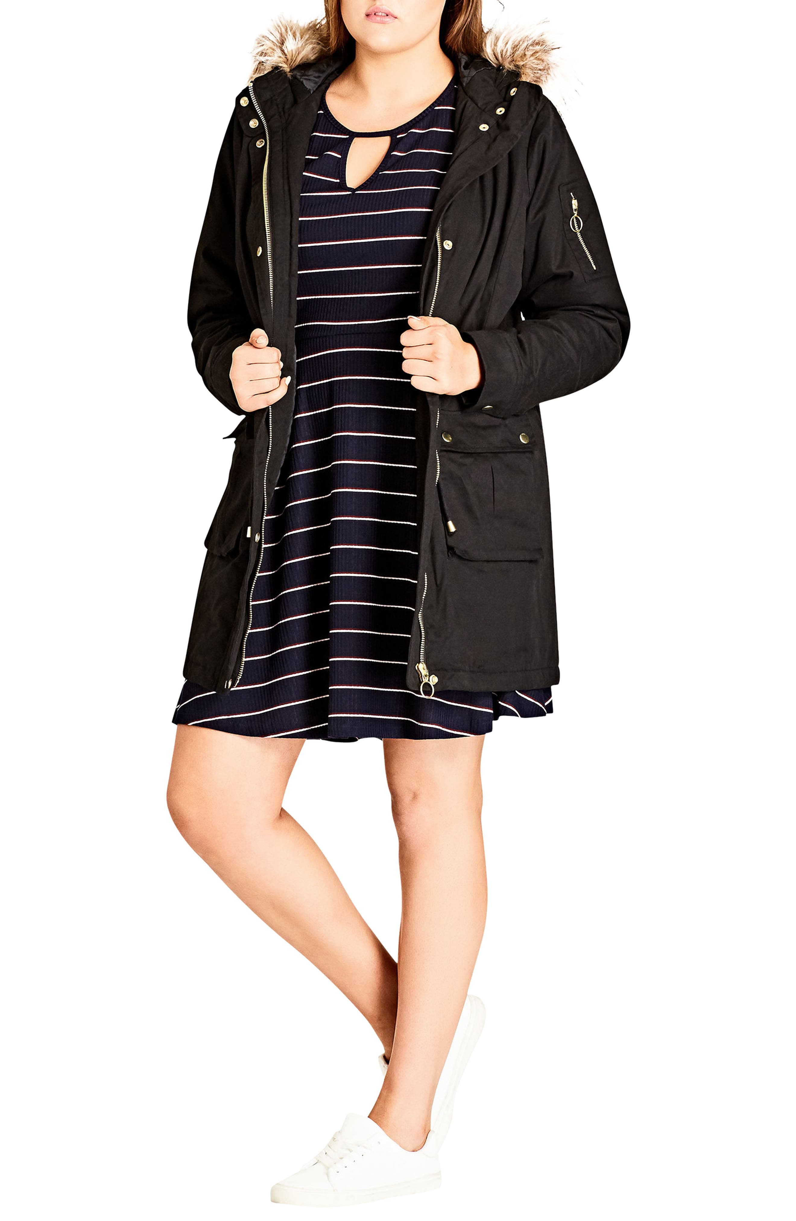 Alternate Image 1 Selected - City Chic Snowed In Faux Fur Trim Parka (Plus Size)
