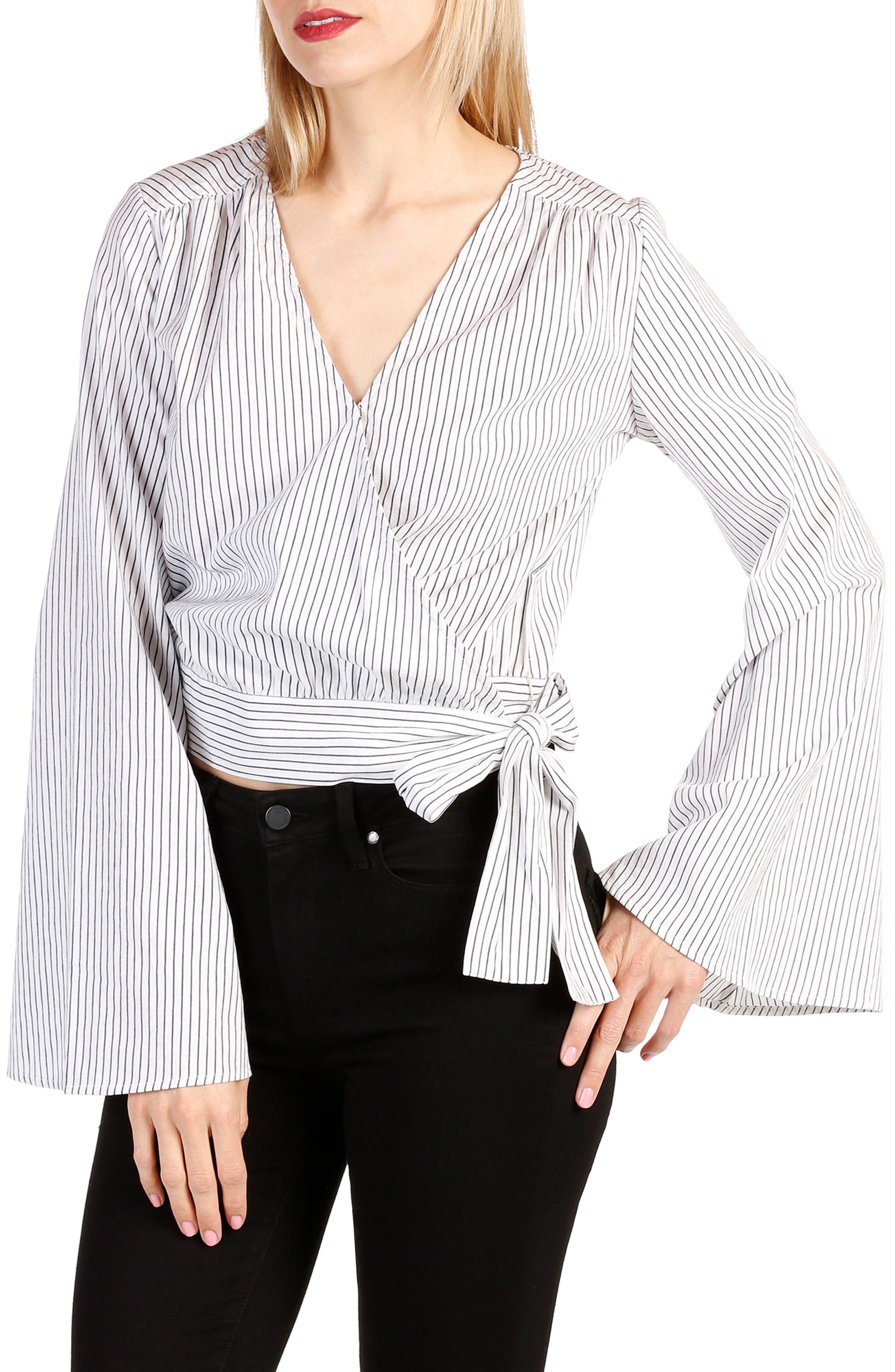 Marianne Cotton Wrap Top,                         Main,                         color, White / Black Stripe