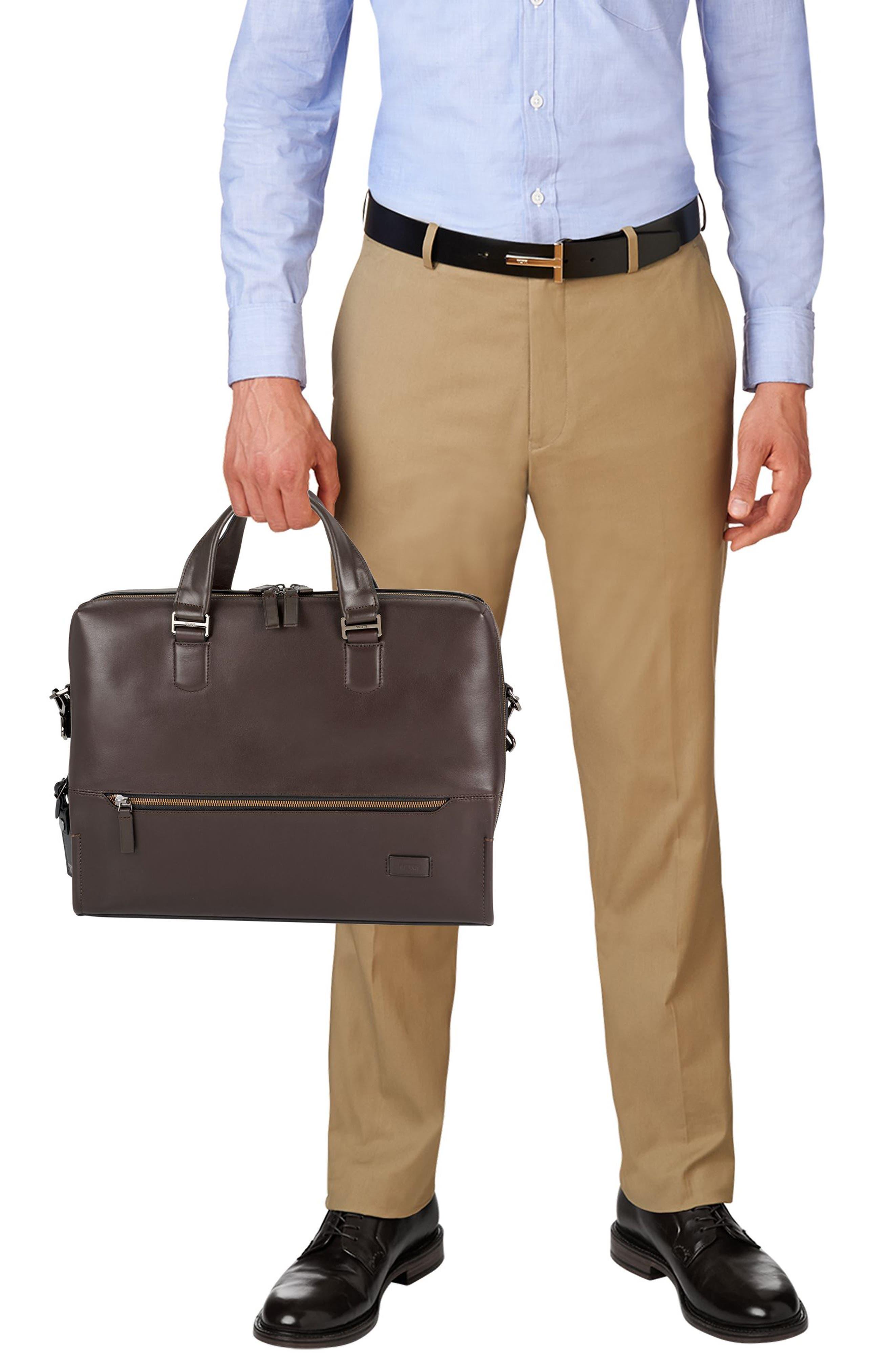 Harrison Horton Double Zip Leather Briefcase,                             Alternate thumbnail 2, color,                             Brown
