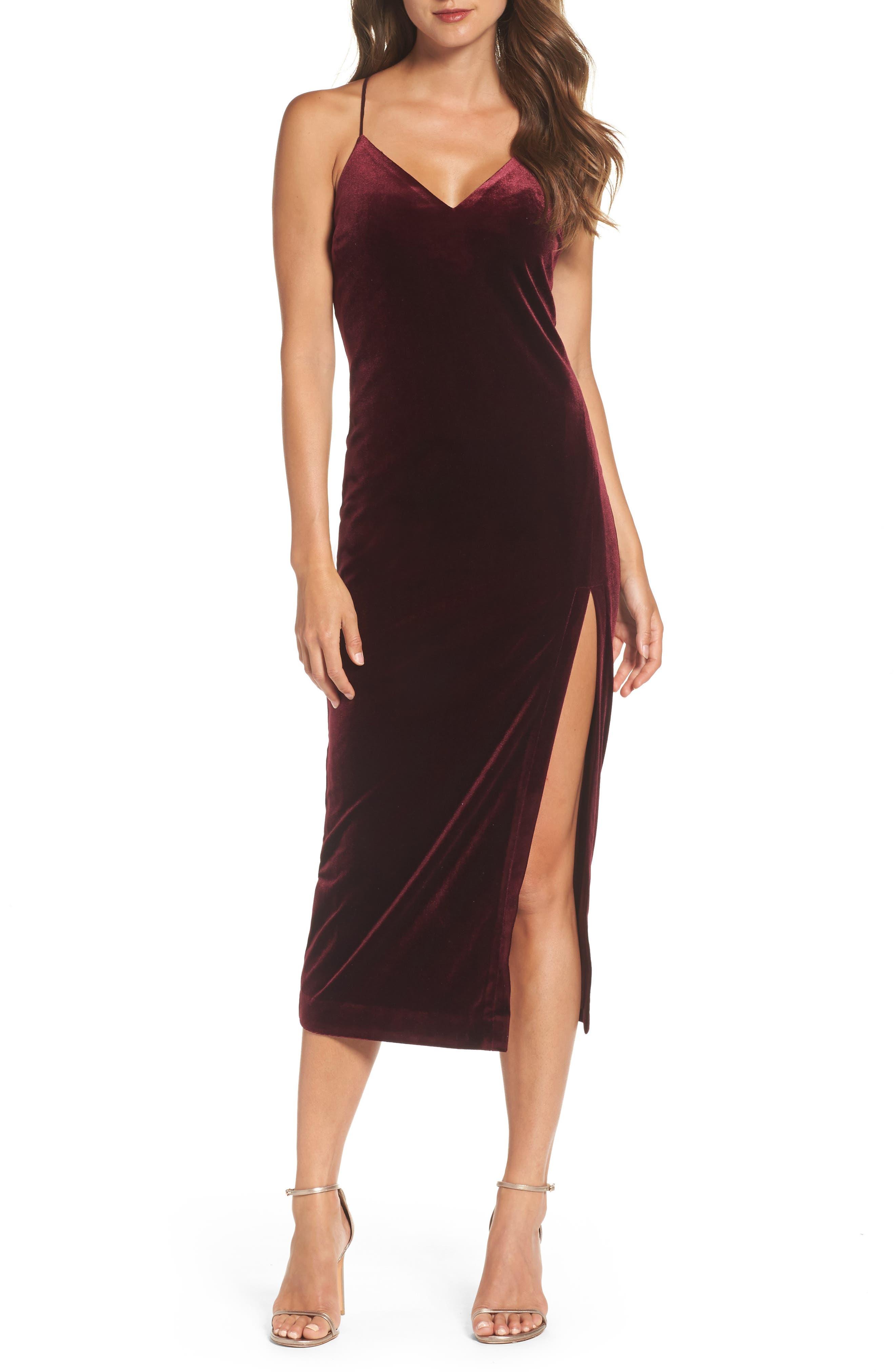 Raven Velvet Slipdress,                         Main,                         color, Burgundy