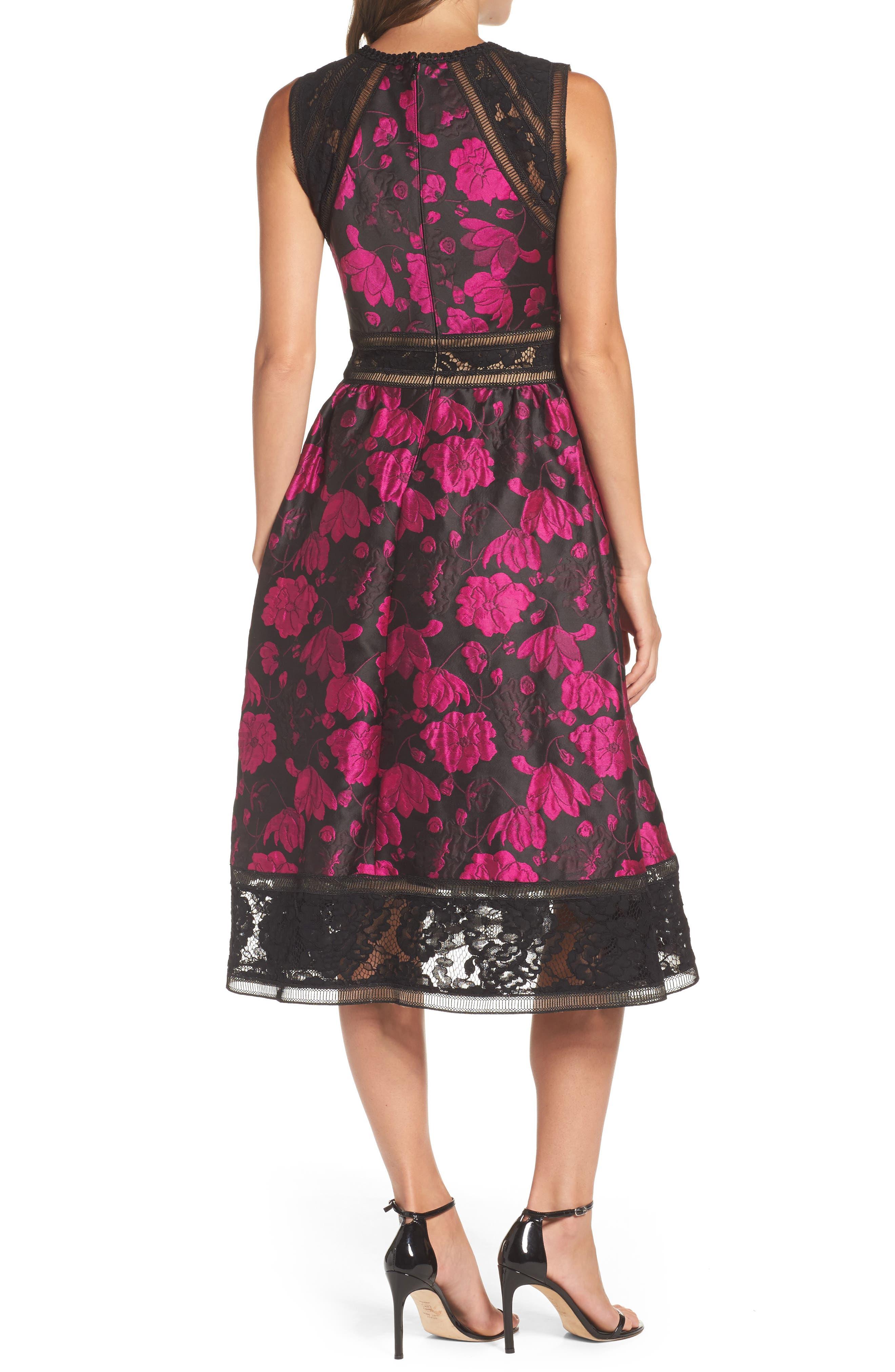 Lace Trim Rose Jacquard Midi Dress,                             Alternate thumbnail 2, color,                             Fuchsia/ Black