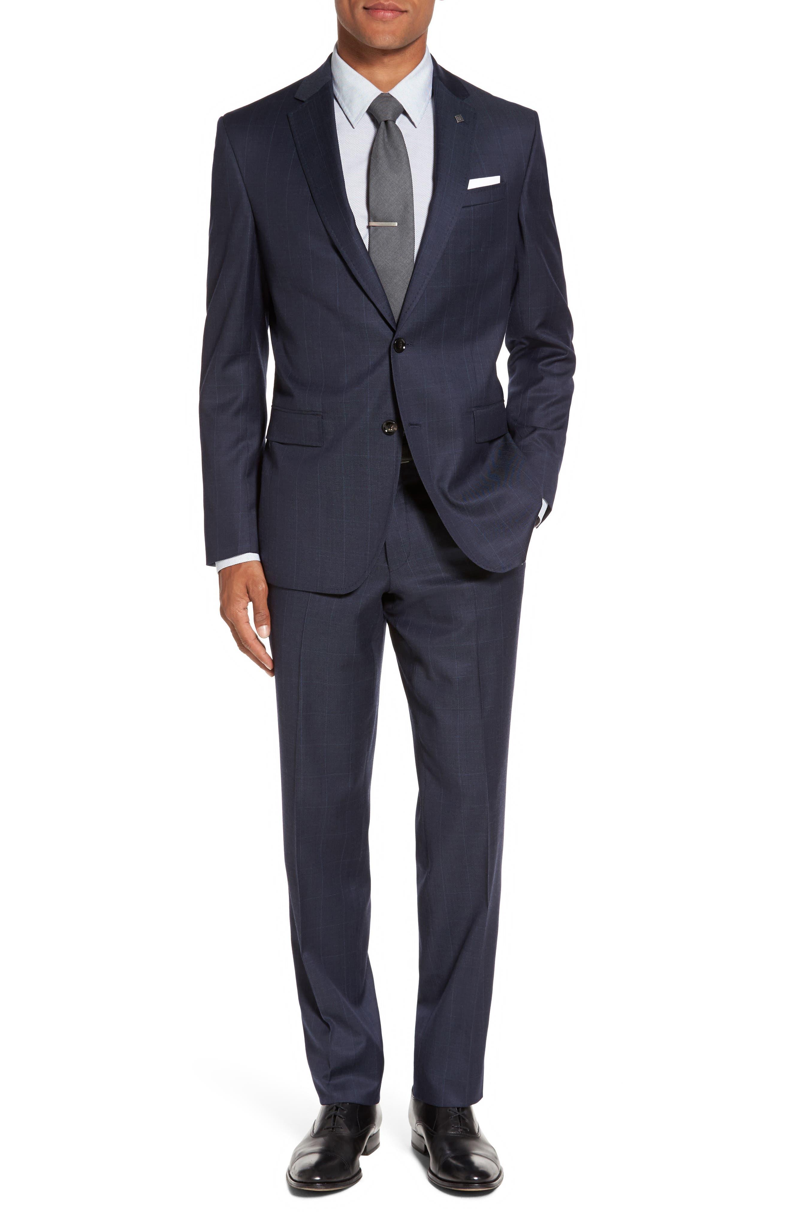 Alternate Image 1 Selected - Ted Baker London Jay Trim Fit Windowpane Wool Suit