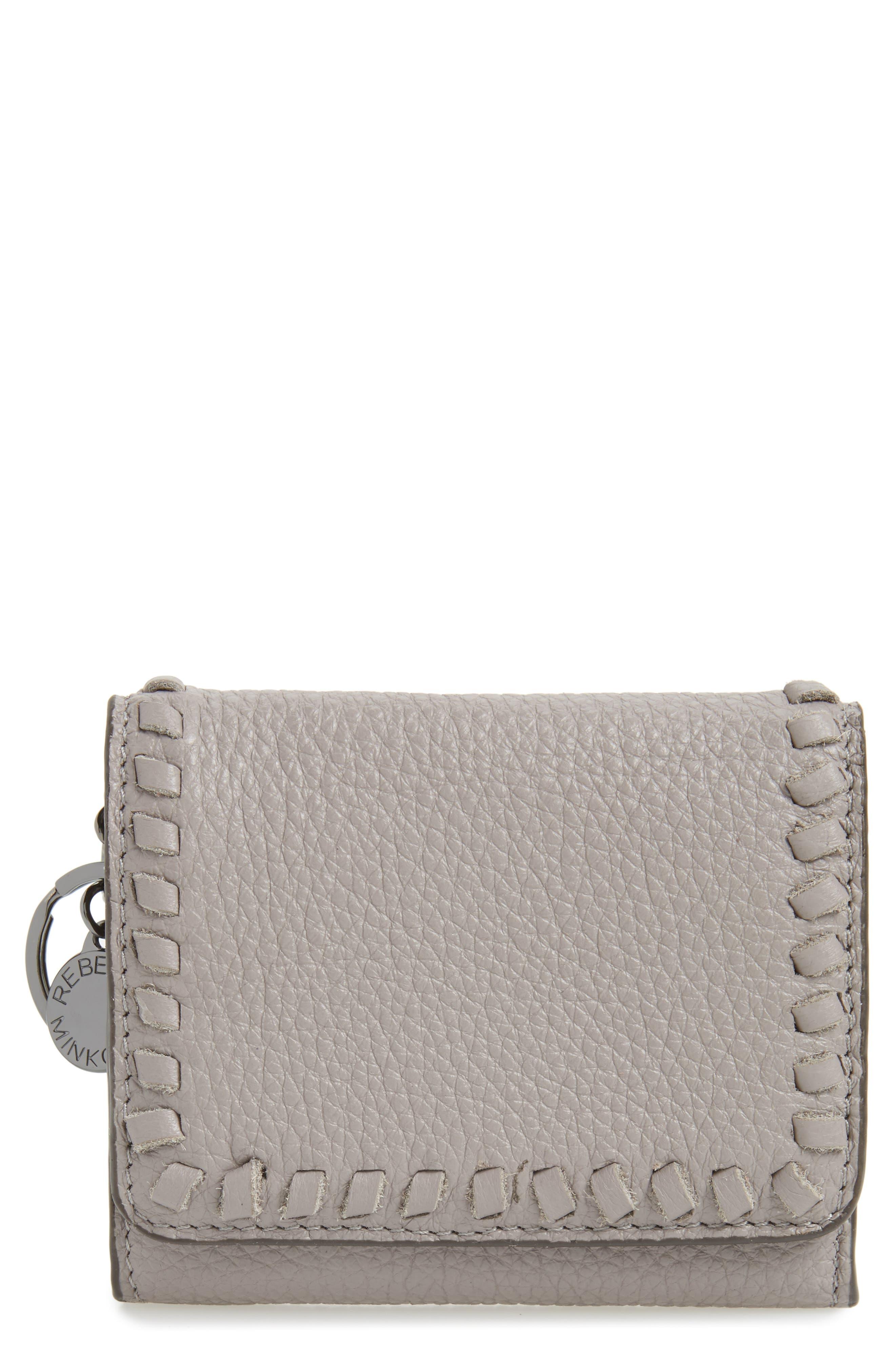 Mini Vanity Leather Wallet,                         Main,                         color, Grey