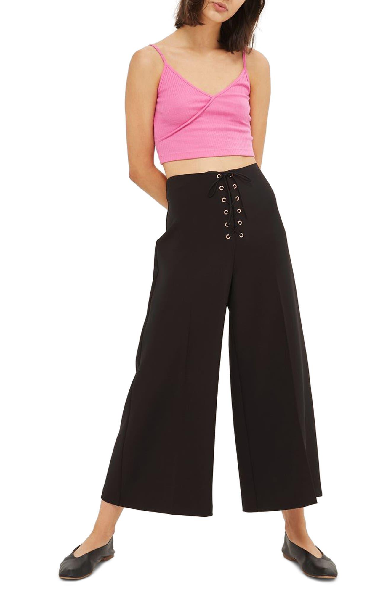 Main Image - Topshop Lace-Up Wide Leg Crop Pants
