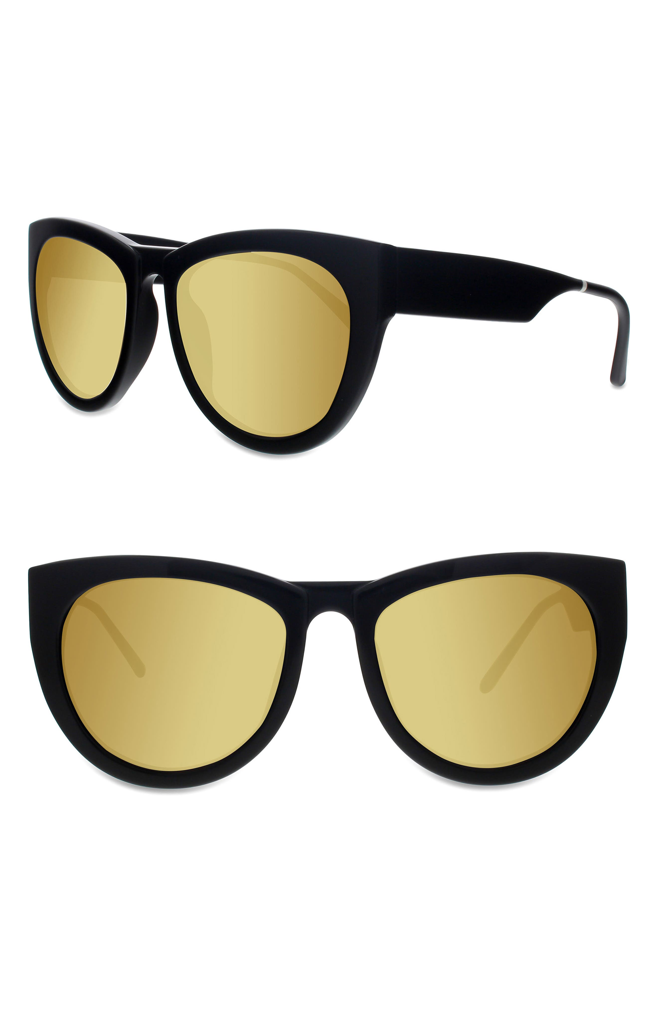 SMOKE X MIRRORS RUNAROUND SUE 60MM CAT EYE SUNGLASSES - BLACK/ GOLD MIRROR