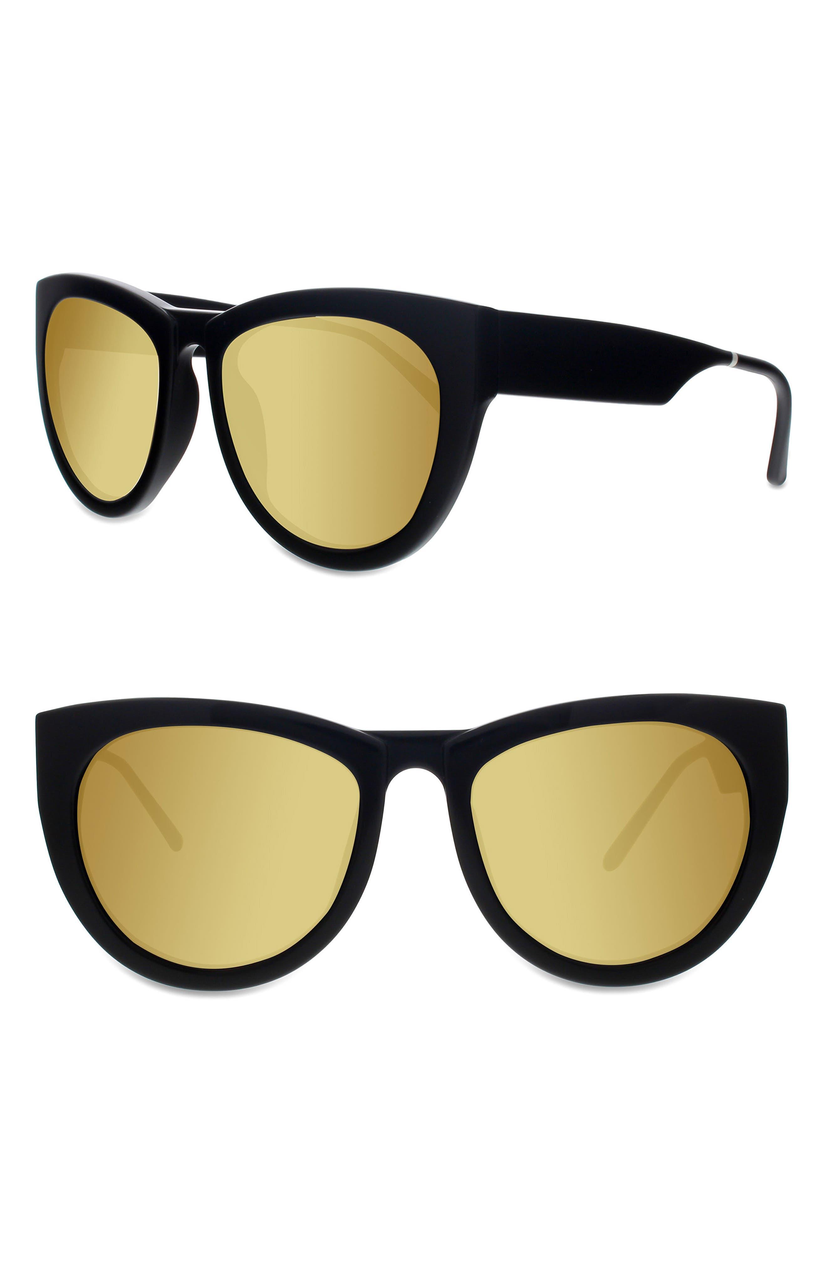 Runaround Sue 60mm Cat Eye Sunglasses,                         Main,                         color, Black/ Gold Mirror