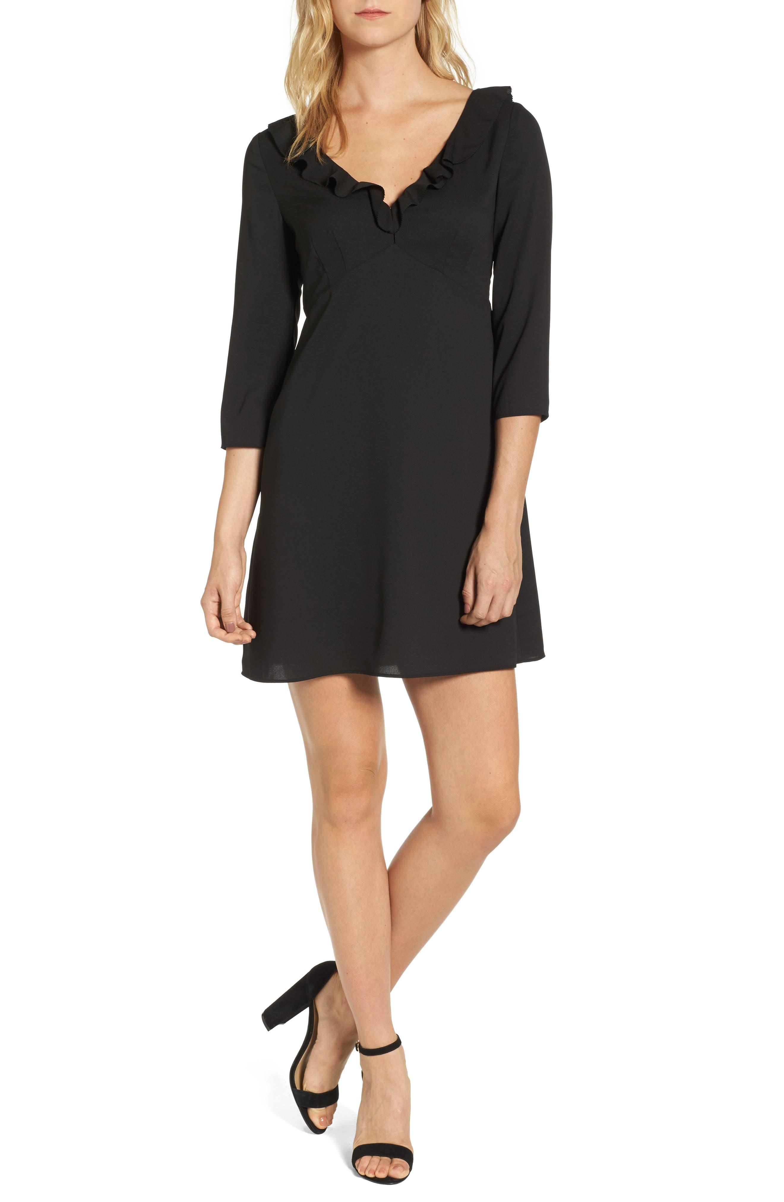 Signe Ruffle A-Line Dress,                             Main thumbnail 1, color,                             Black