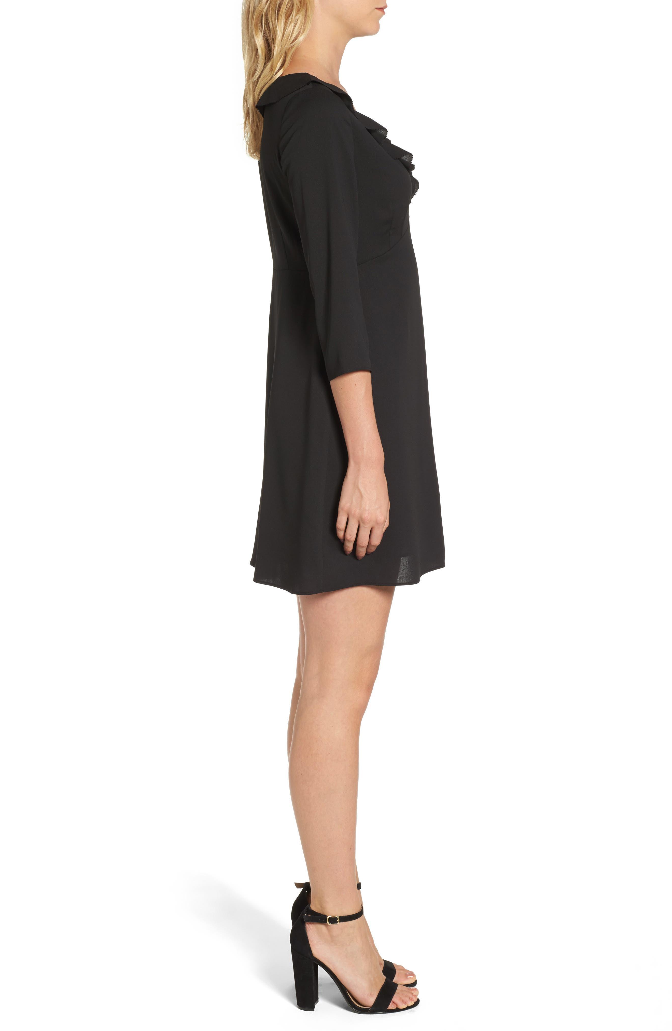 Signe Ruffle A-Line Dress,                             Alternate thumbnail 3, color,                             Black