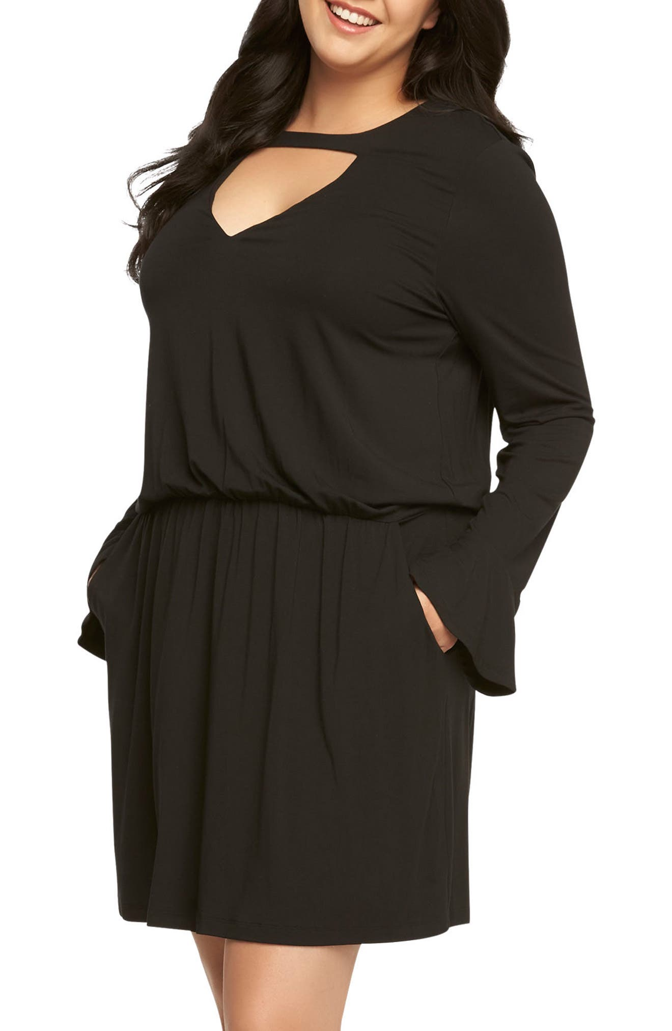 Arianna Keyhole Blouson Dress,                             Main thumbnail 1, color,                             Black