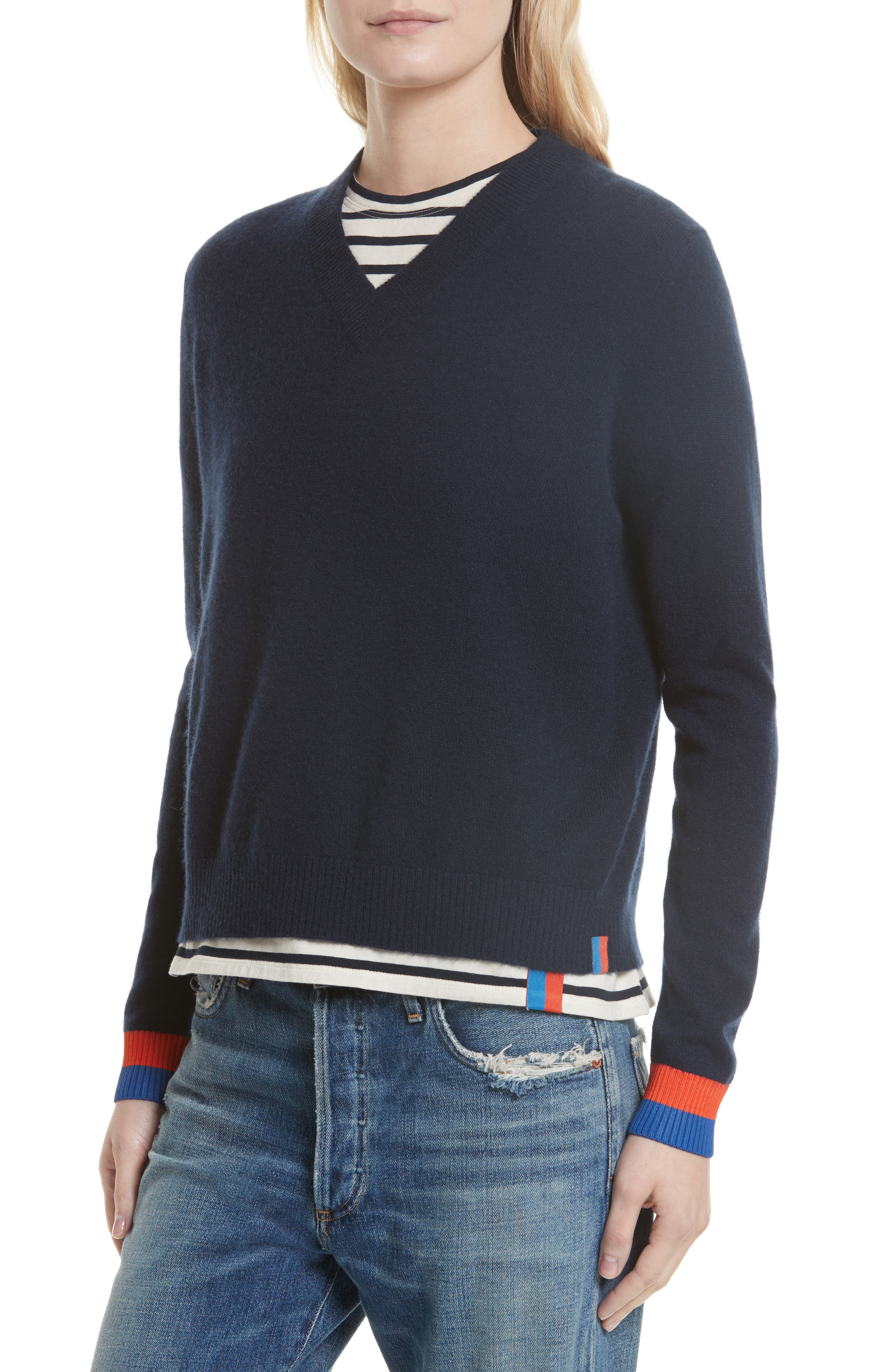 Cashmere Sweater,                             Alternate thumbnail 4, color,                             Navy