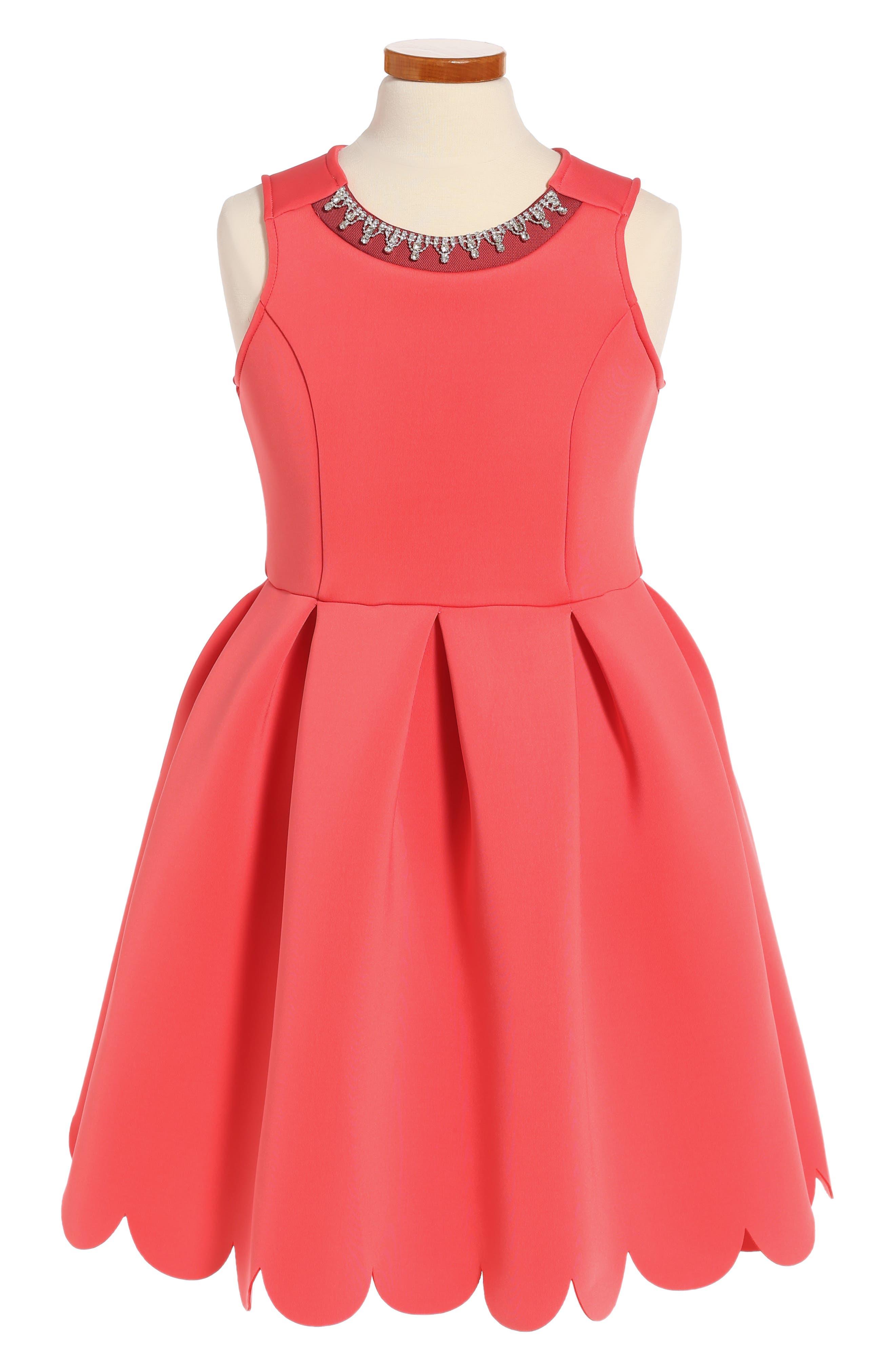 Scallop Hem Scuba Dress,                         Main,                         color, Coral