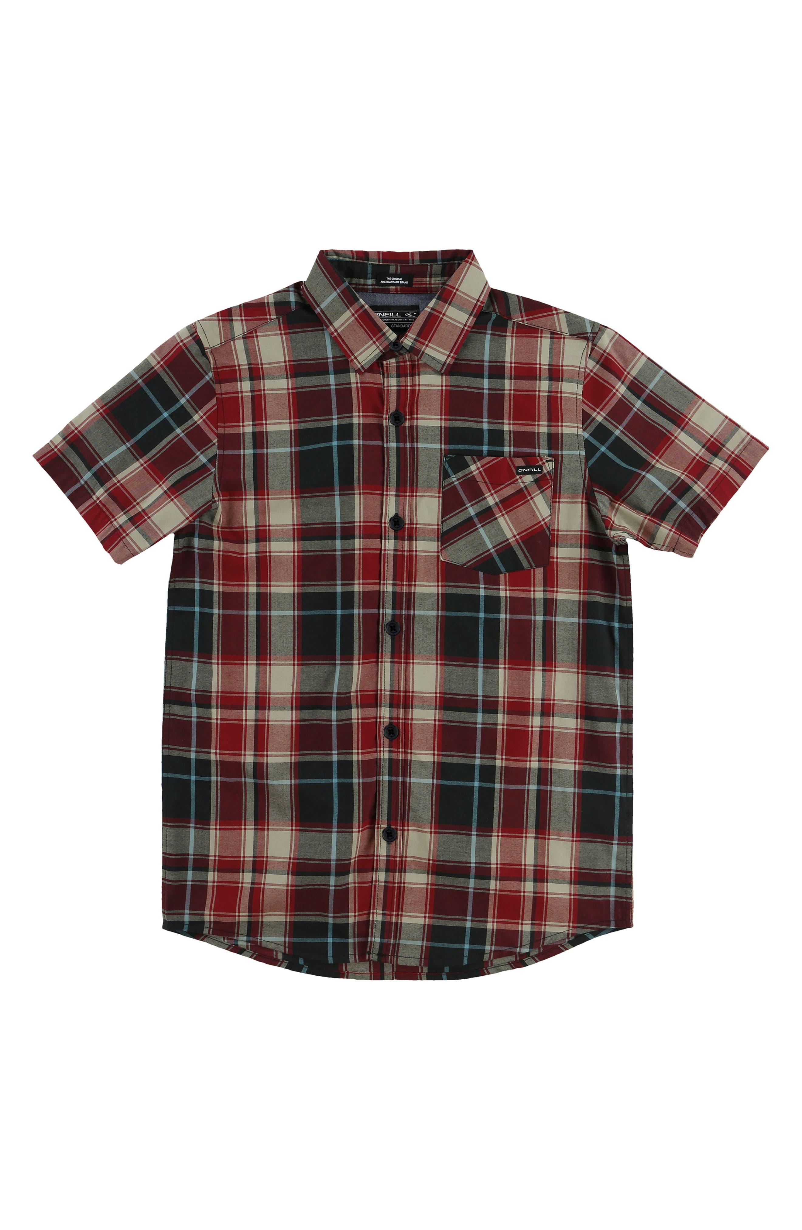 Main Image - O'Neill Plaid Short Sleeve Shirt (Big Boys)