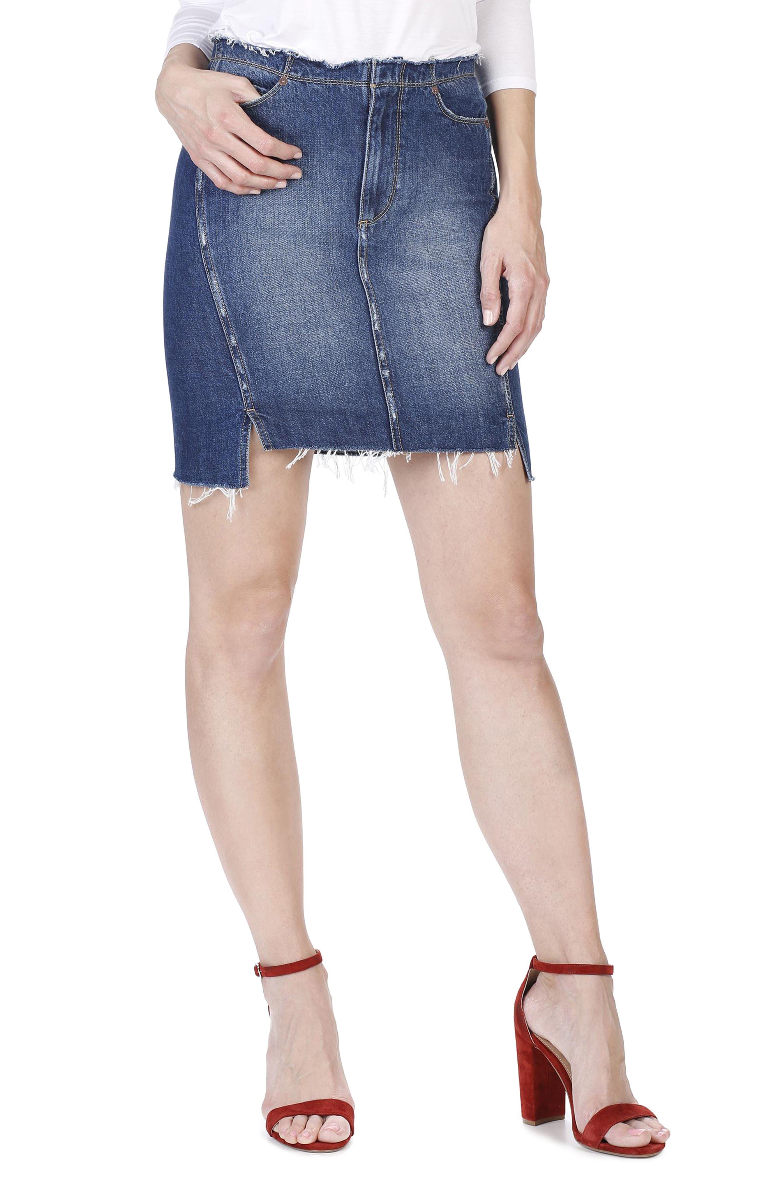 PAIGE Ilana Step Hem Denim Miniskirt
