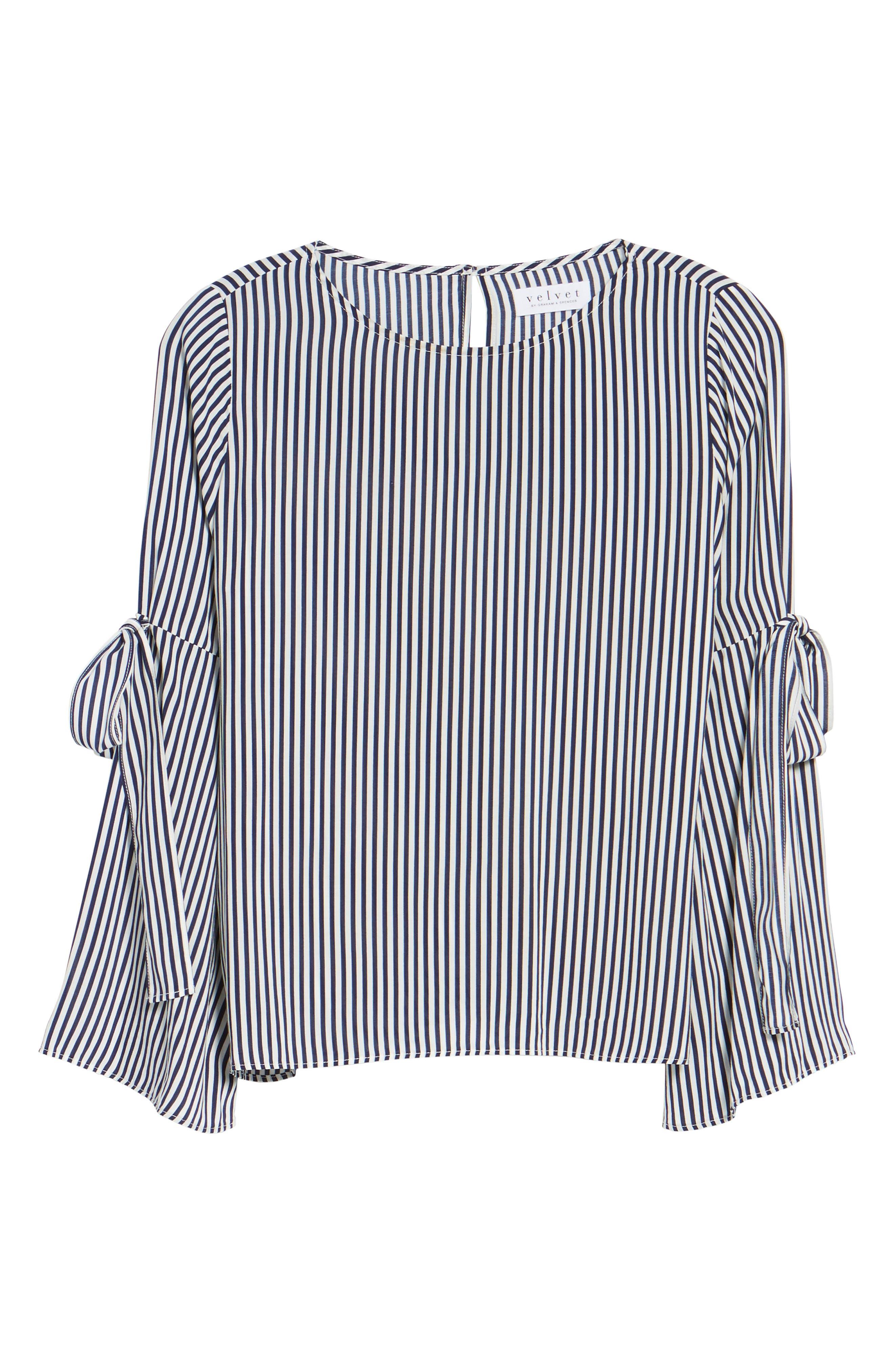 Alternate Image 7  - Velvet by Graham & Spencer Stripe Tie Bell Sleeve Blouse