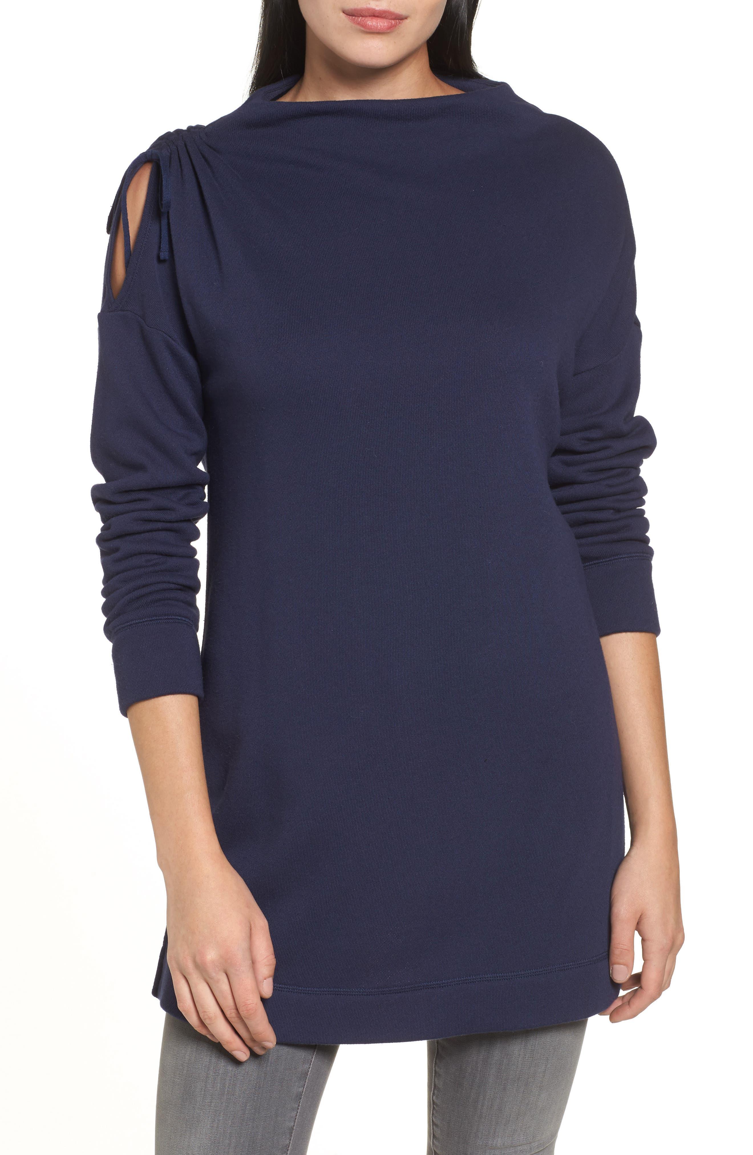 Caslon® Open Shoulder Sweatshirt Tunic (Regular & Petite)