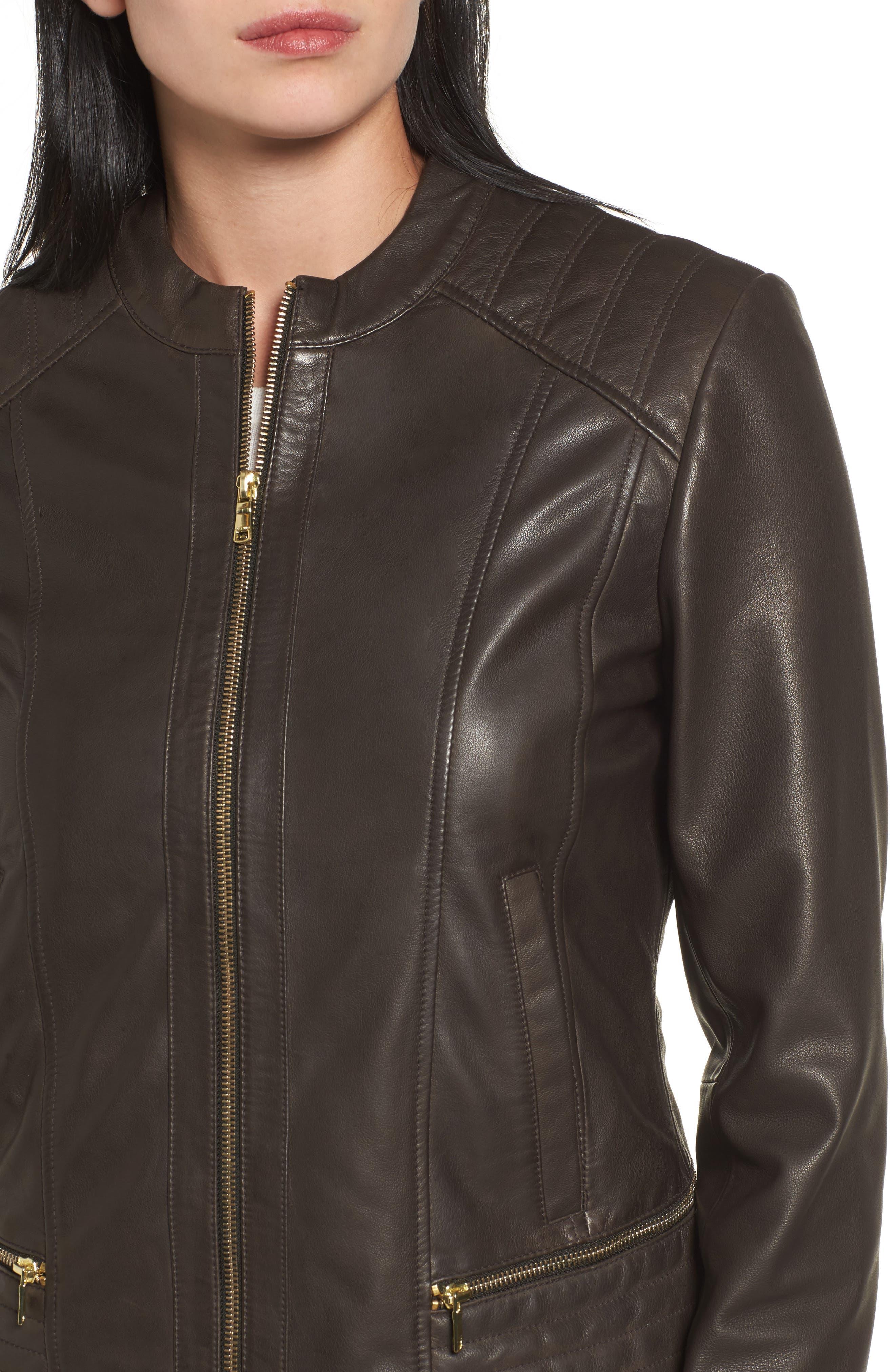 Leather Moto Jacket,                             Alternate thumbnail 4, color,                             Smoke