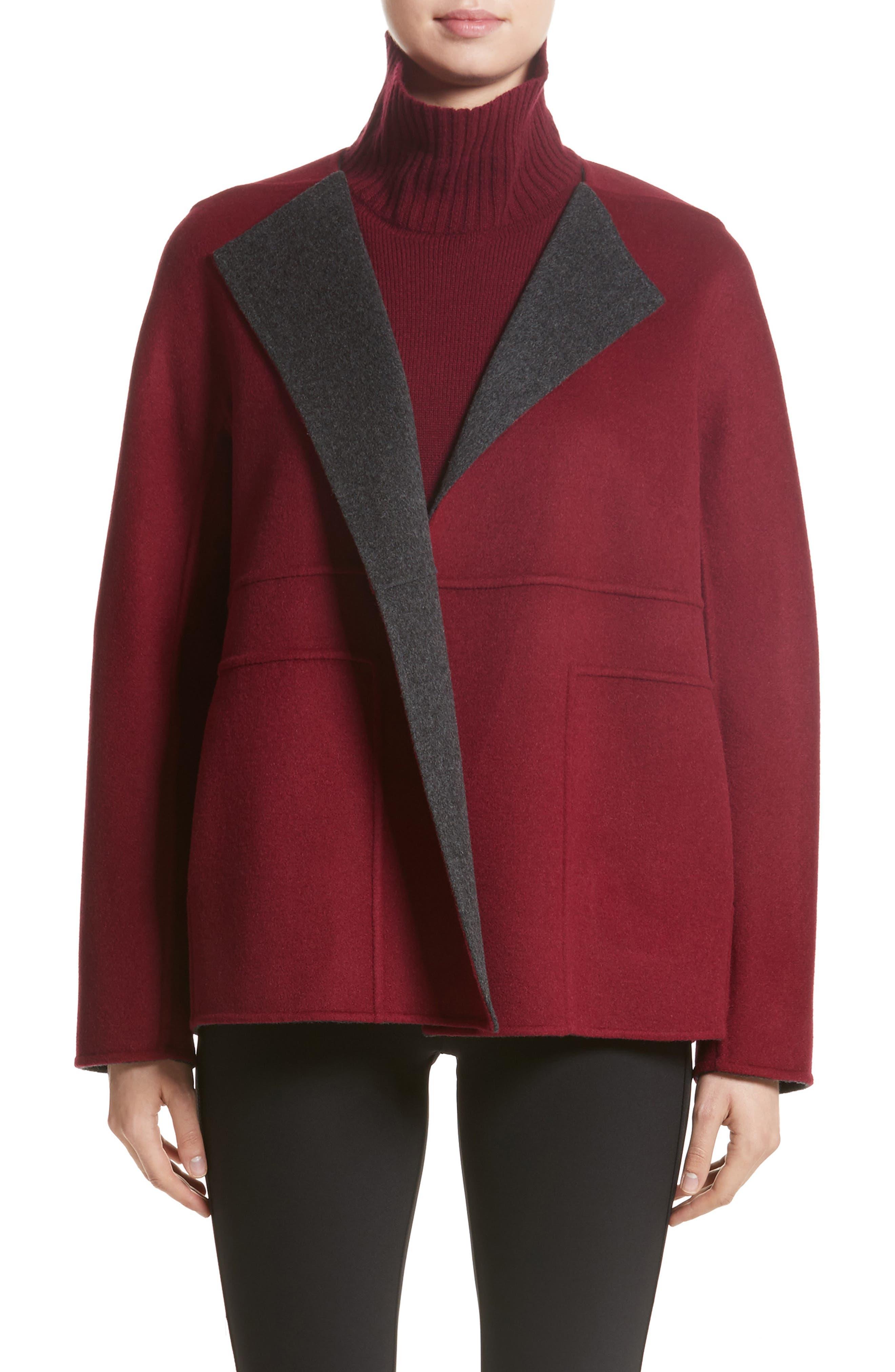 Two-Tone Double Face Reversible Jacket,                         Main,                         color, Smoke/ Shiraz