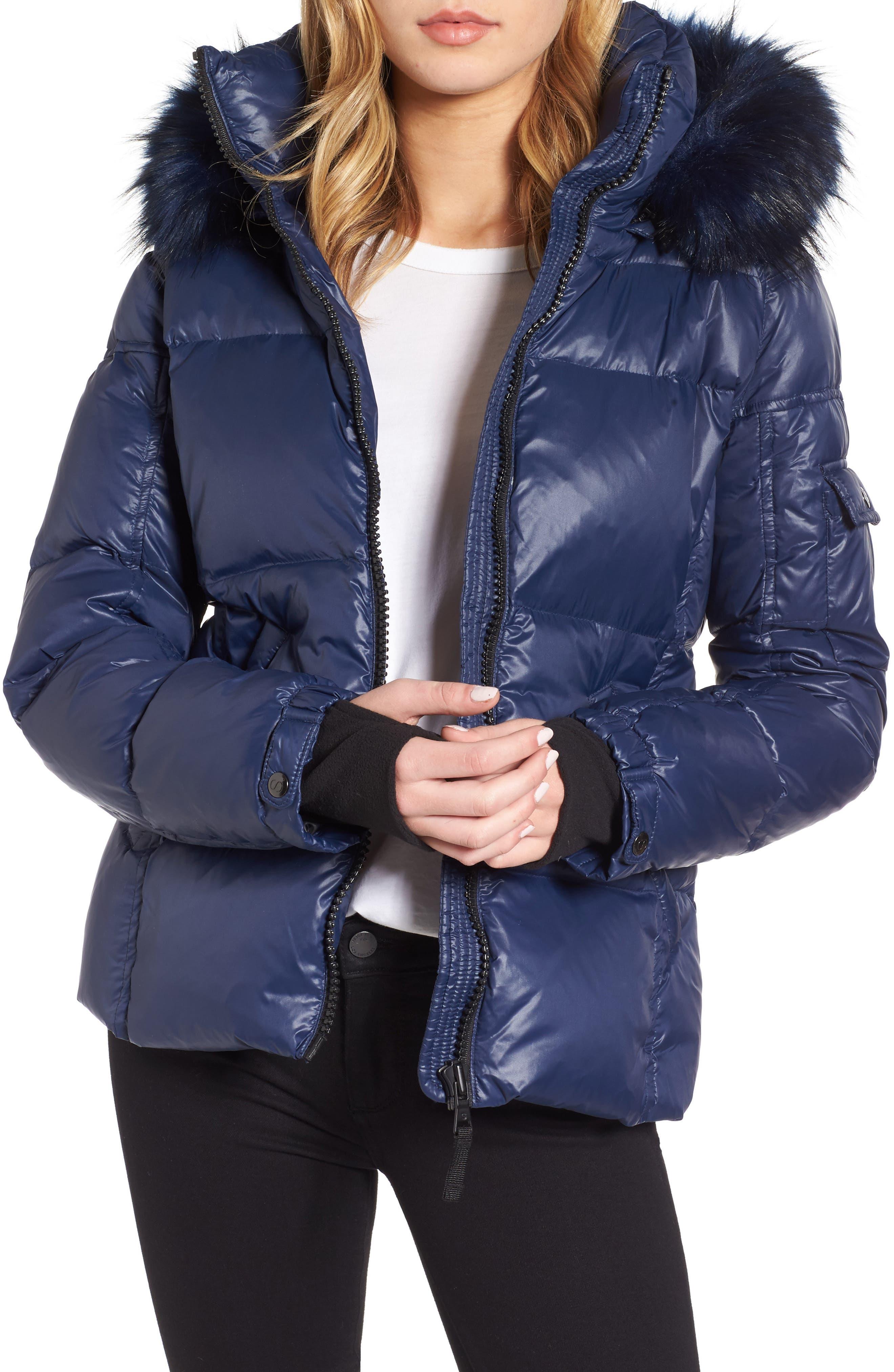 Kylie Faux Fur Trim Gloss Puffer Jacket,                             Main thumbnail 1, color,                             Night Blue/ Navy