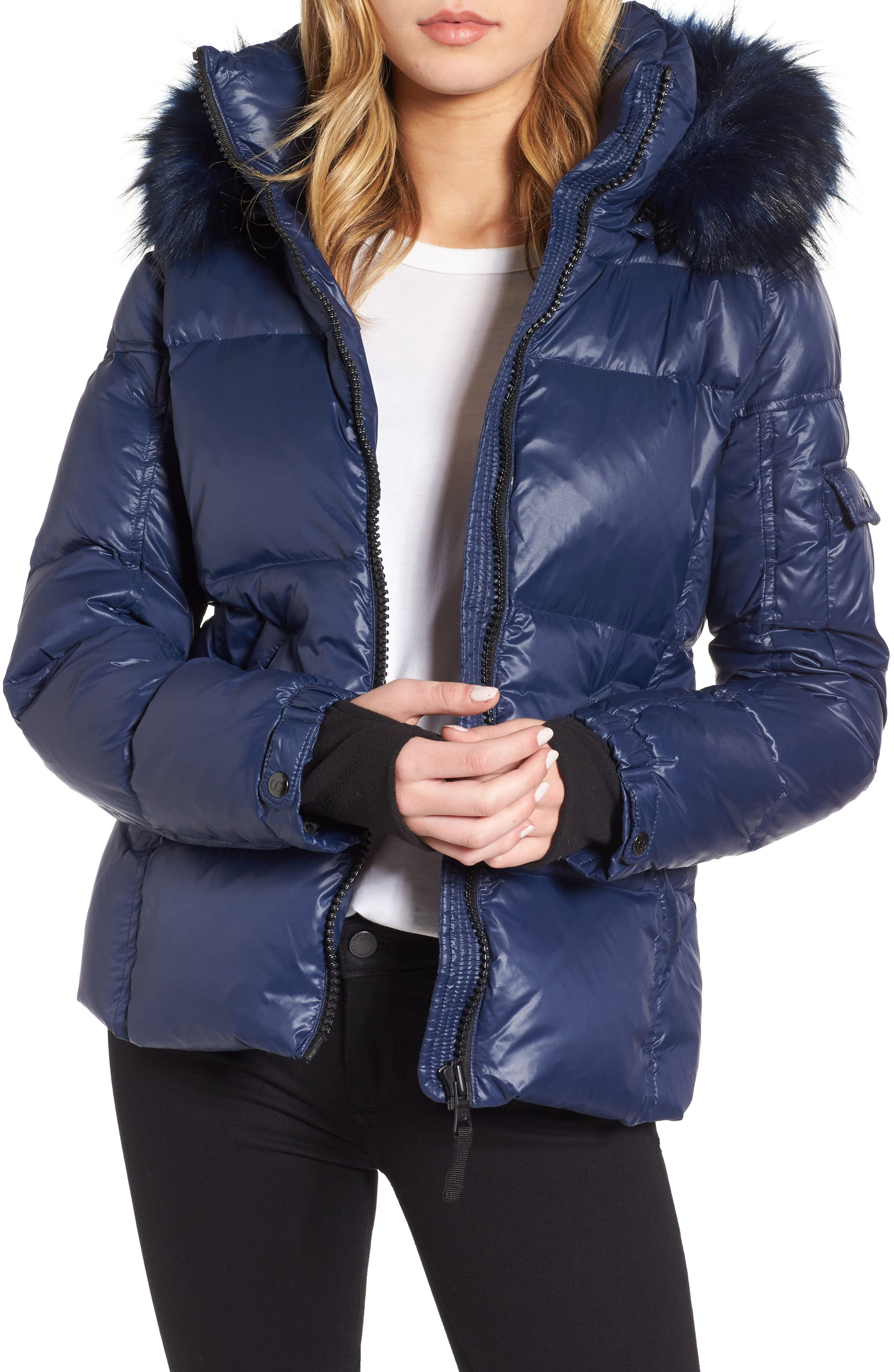 Kylie Faux Fur Trim Gloss Puffer Jacket,                         Main,                         color, Night Blue/ Navy