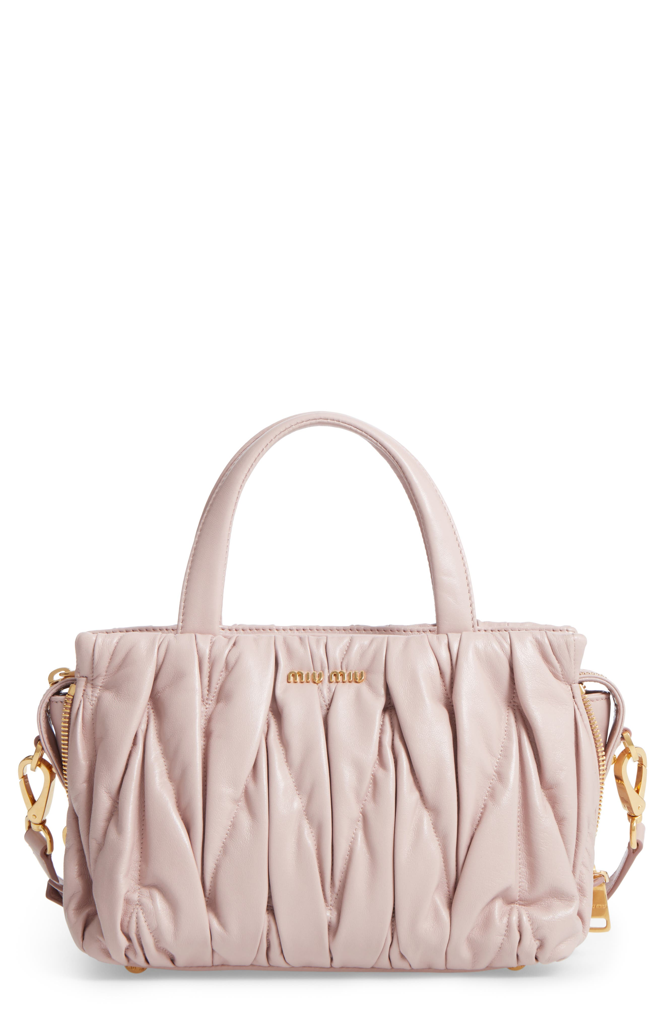 Small Matelassé Nappa Leather Satchel,                         Main,                         color, Light Pink