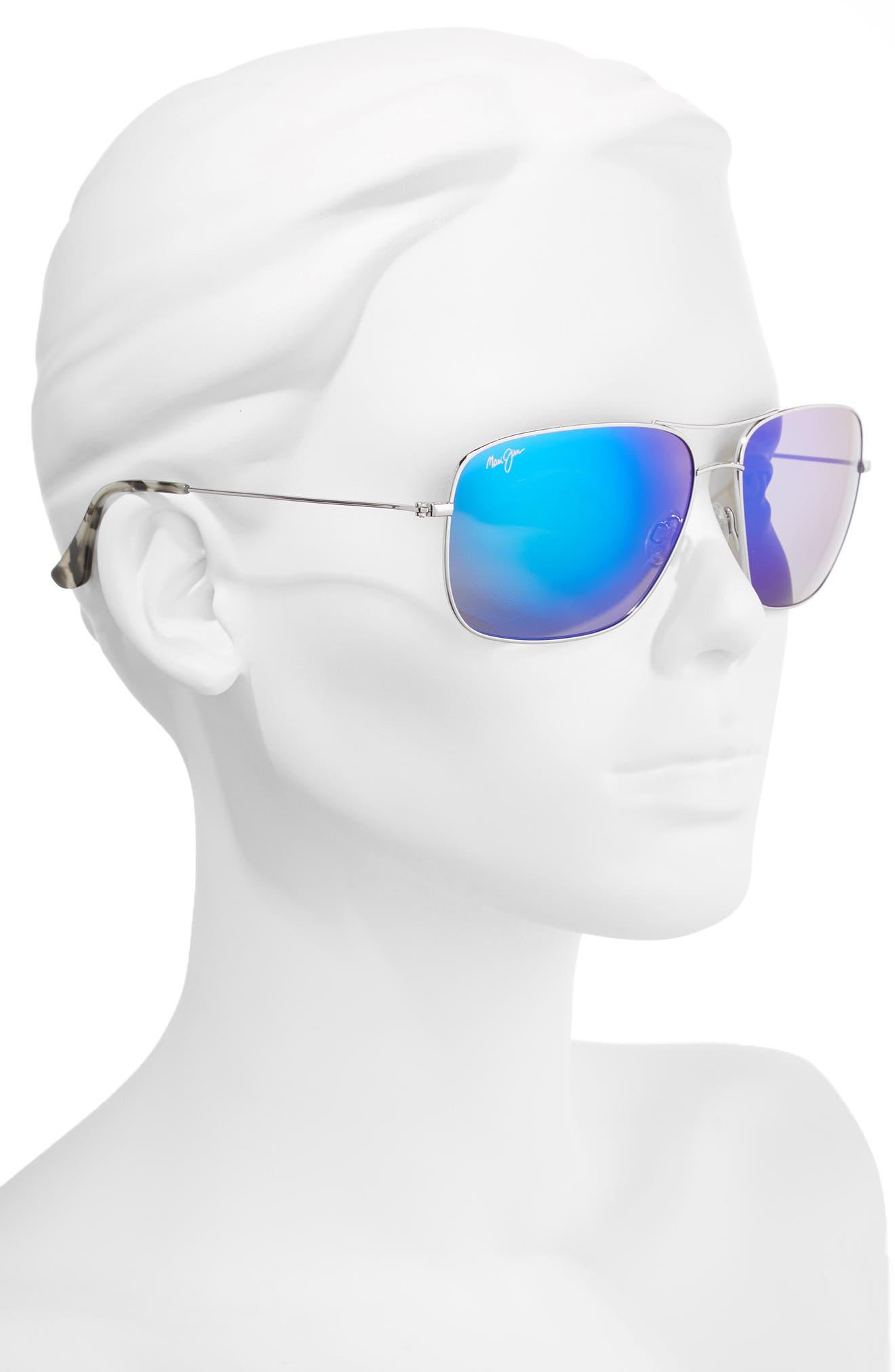 Cook Pines 63mm Polarized Titanium Aviator Sunglasses,                             Alternate thumbnail 2, color,                             Silver/ Blue Hawaii