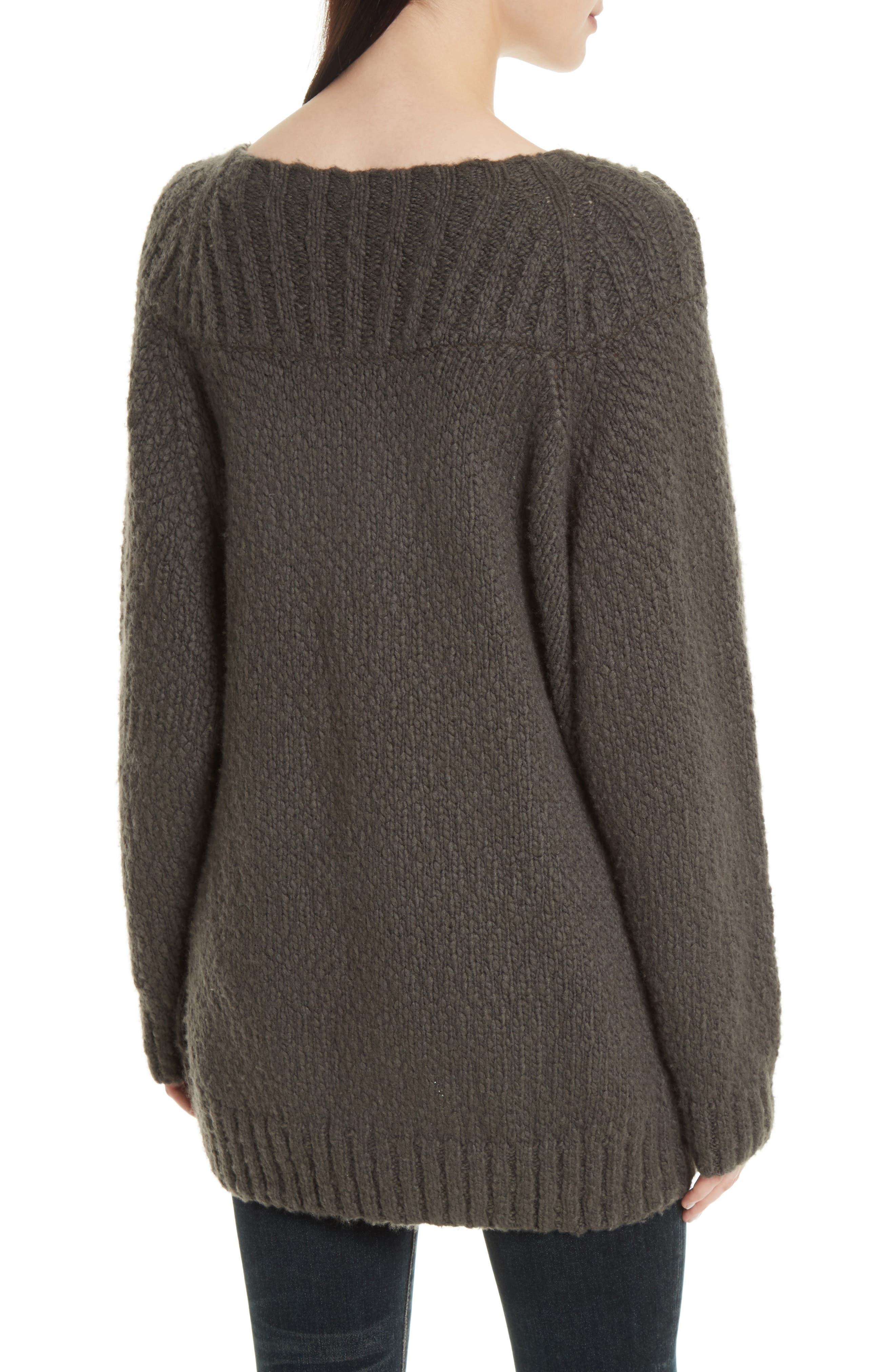 Ribbed Yoke Knit Sweater,                             Alternate thumbnail 2, color,                             Graphite
