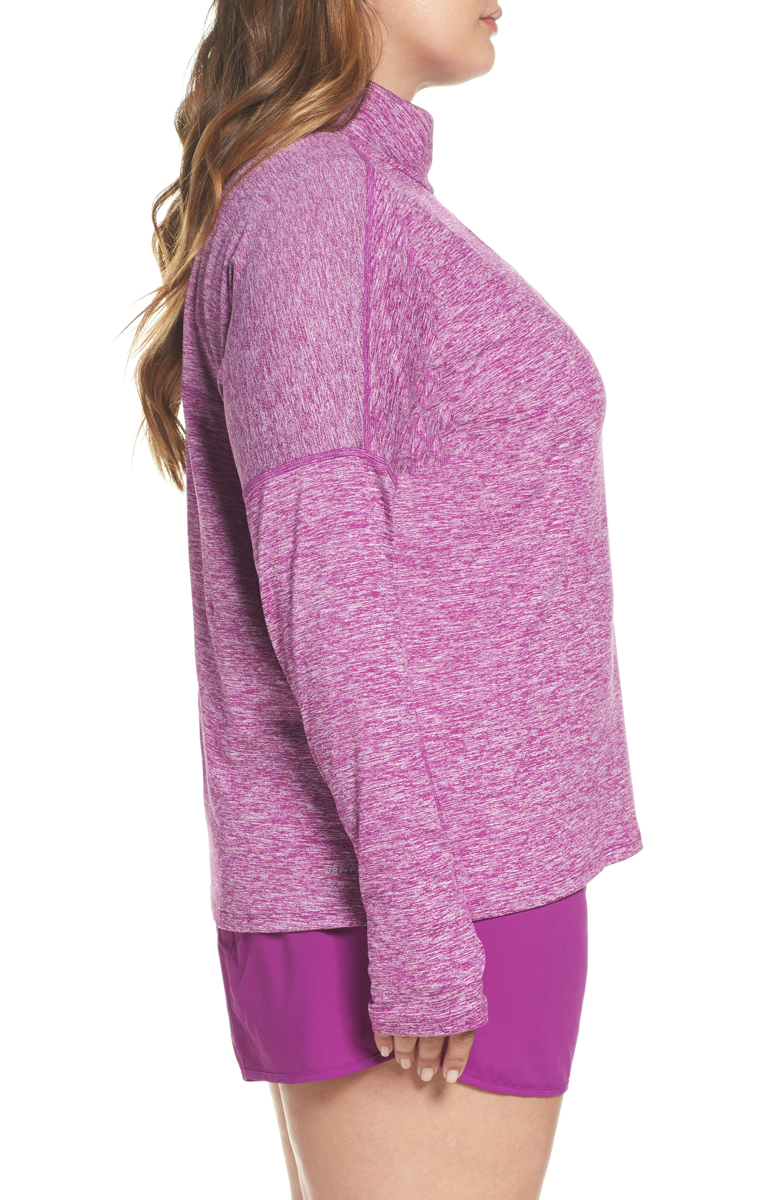 Dry Element Half Zip Top,                             Alternate thumbnail 3, color,                             Bold Berry/ Heather