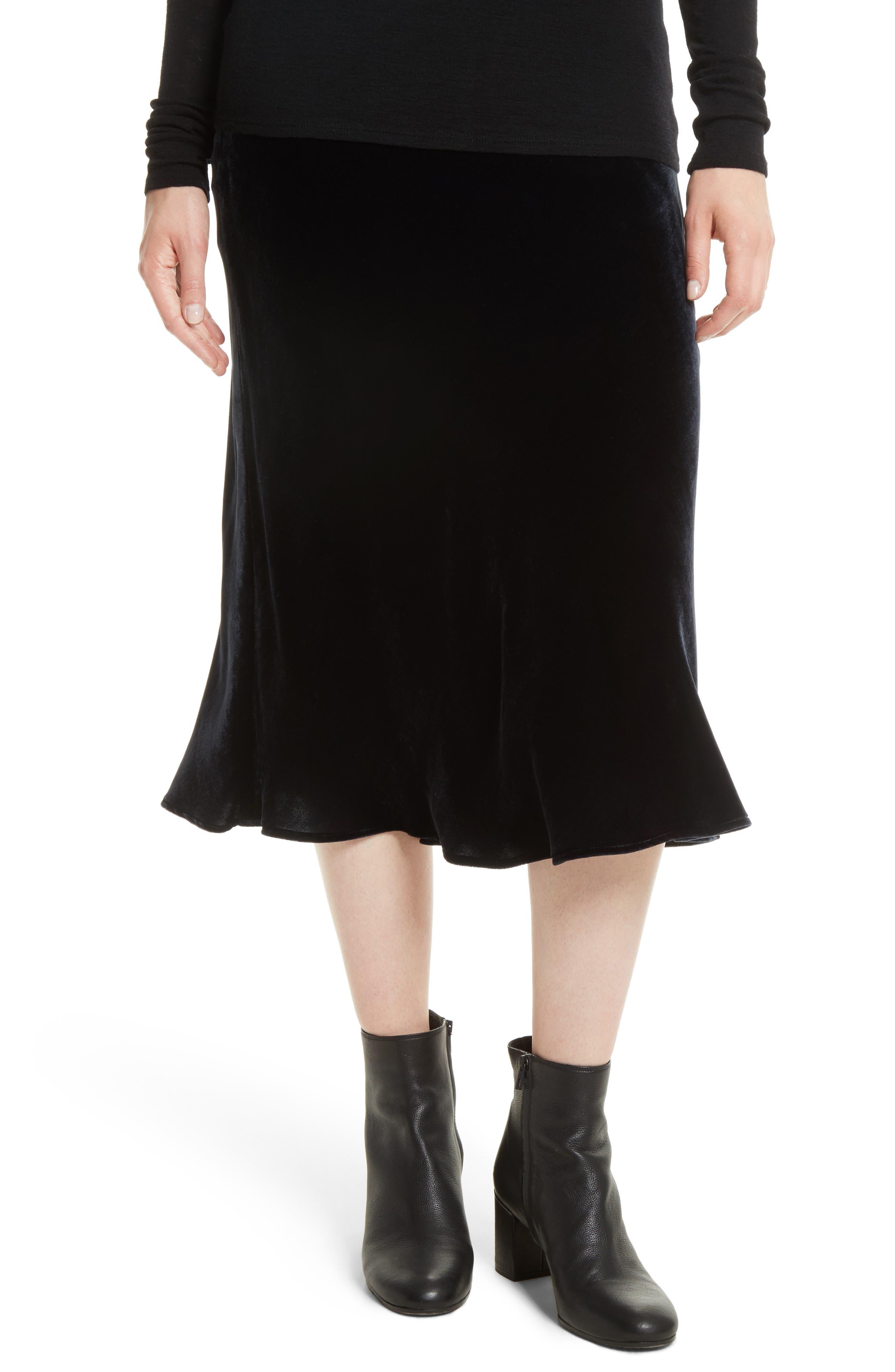 Main Image - Vince Elastic Waist Slip Velvet Skirt