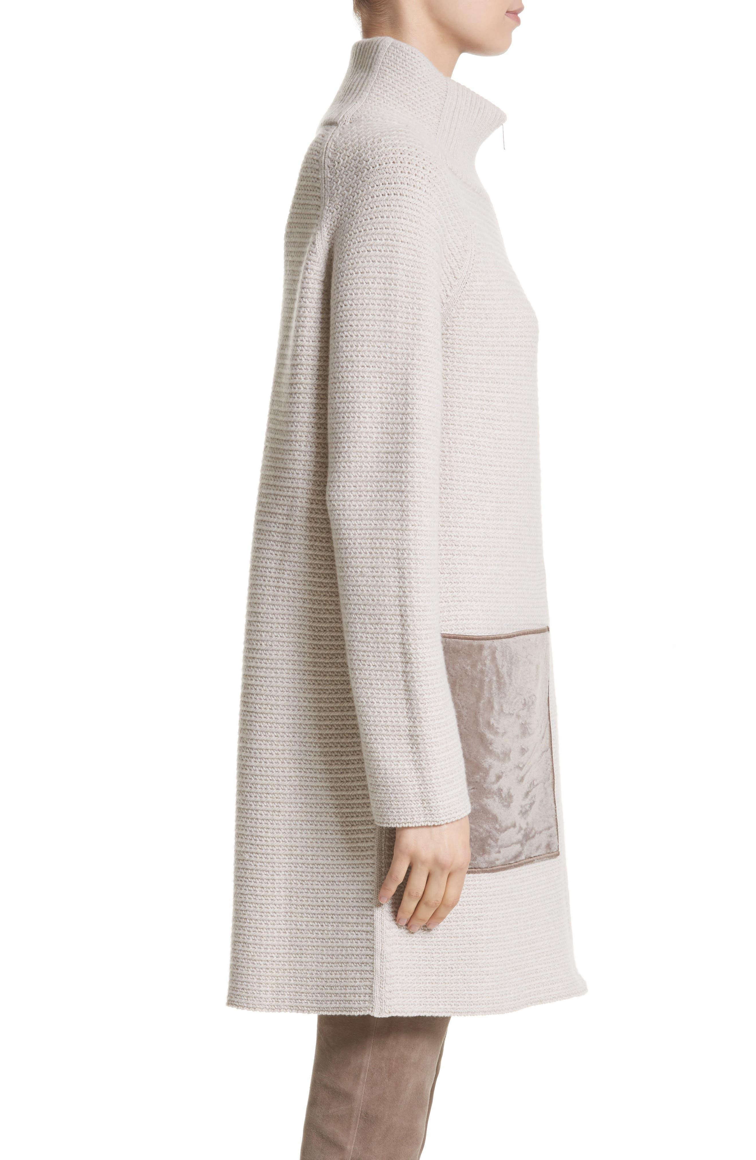 Alternate Image 3  - Lafayette 148 New York Wool & Cashmere Herringbone Stitch Cardigan with Genuine Shearling Pockets