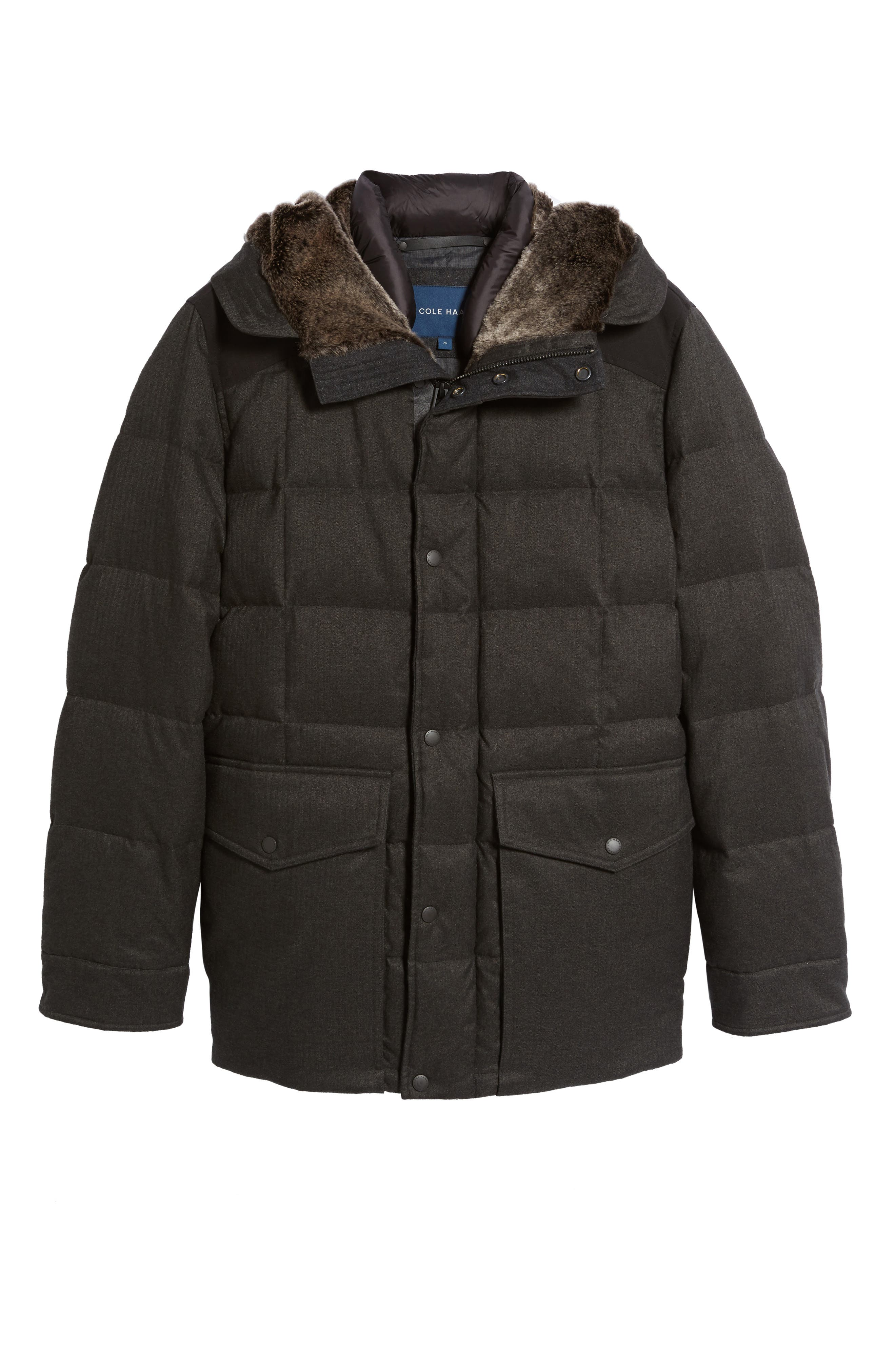Alternate Image 6  - Cole Haan Faux Fur Trim Mixed Media Hooded Down Jacket