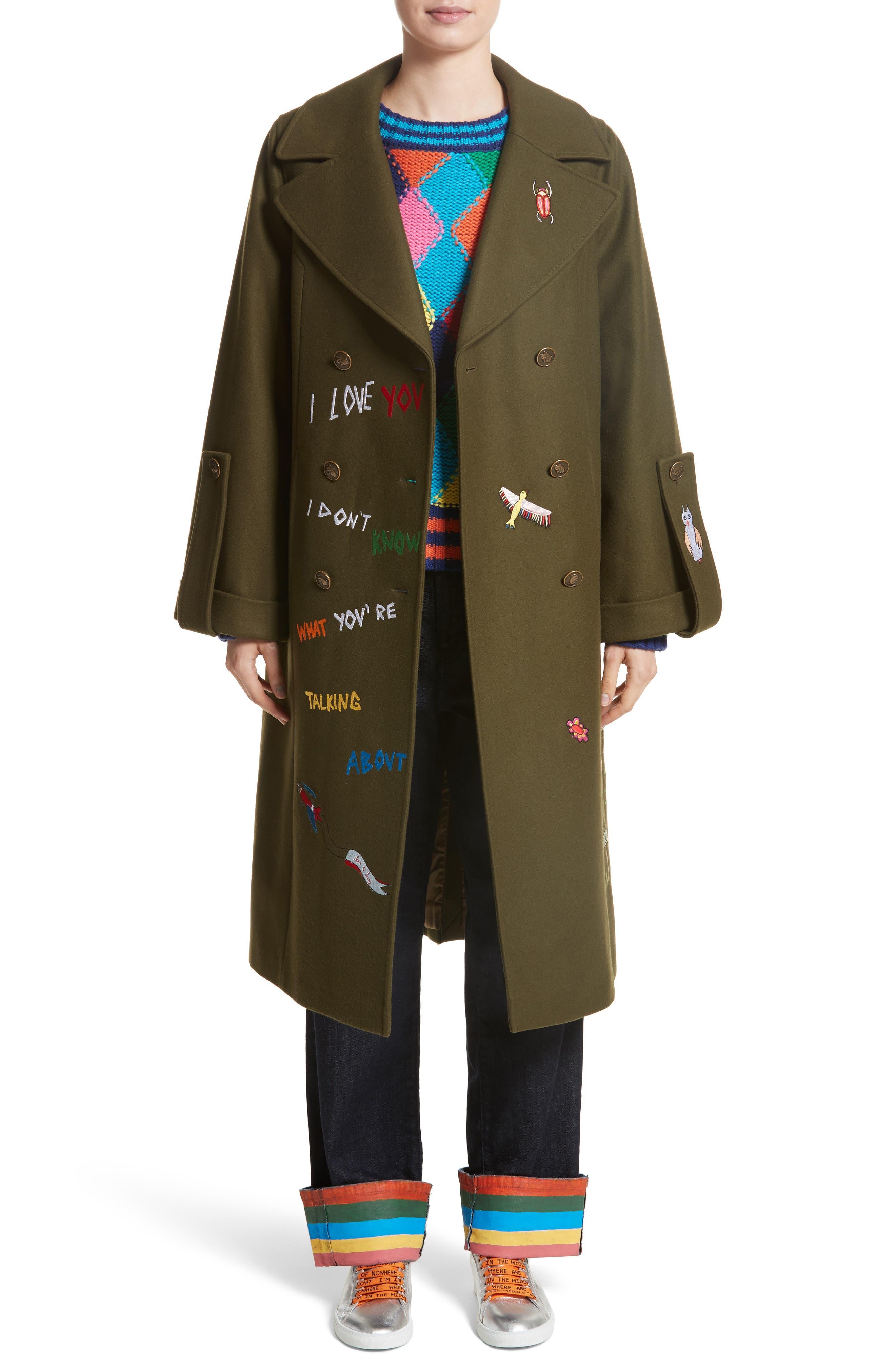 Adventure Embroidered Coat,                         Main,                         color, Khaki