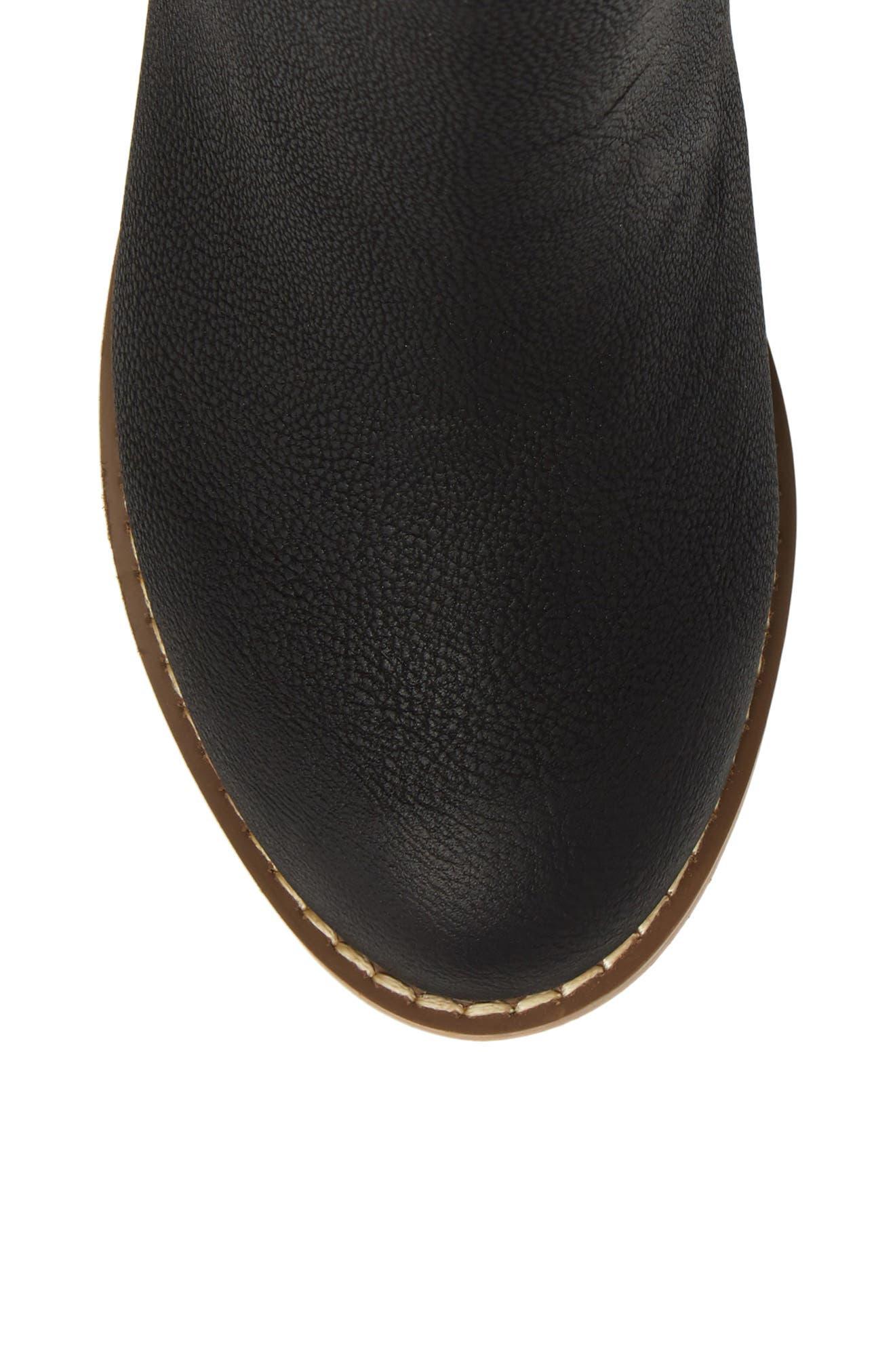 Harper Zip Bootie,                             Alternate thumbnail 5, color,                             Black Faux Leather