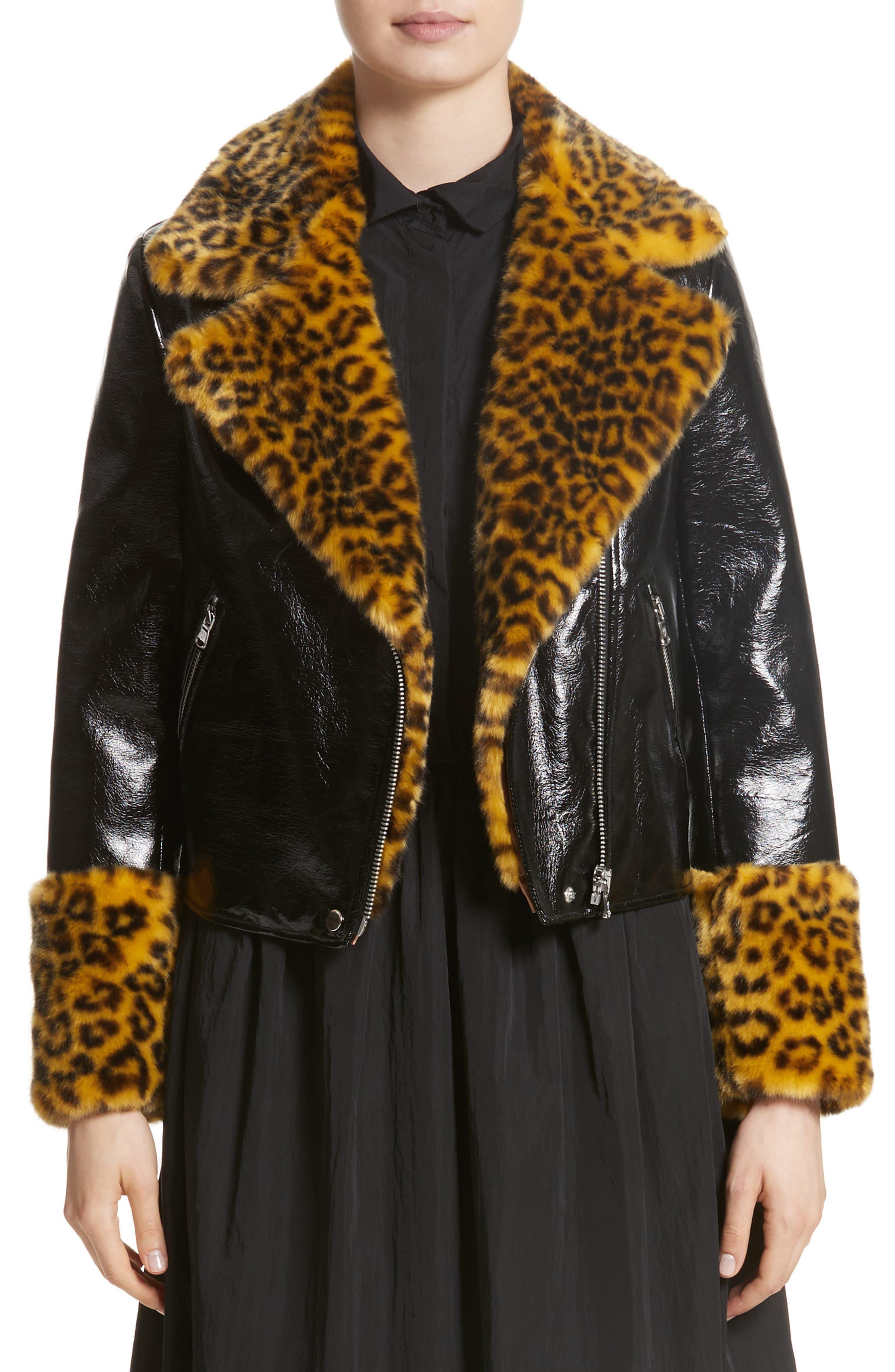 Maisie Faux Leather Biker Jacket with Faux Fur Trim,                             Main thumbnail 1, color,                             Black