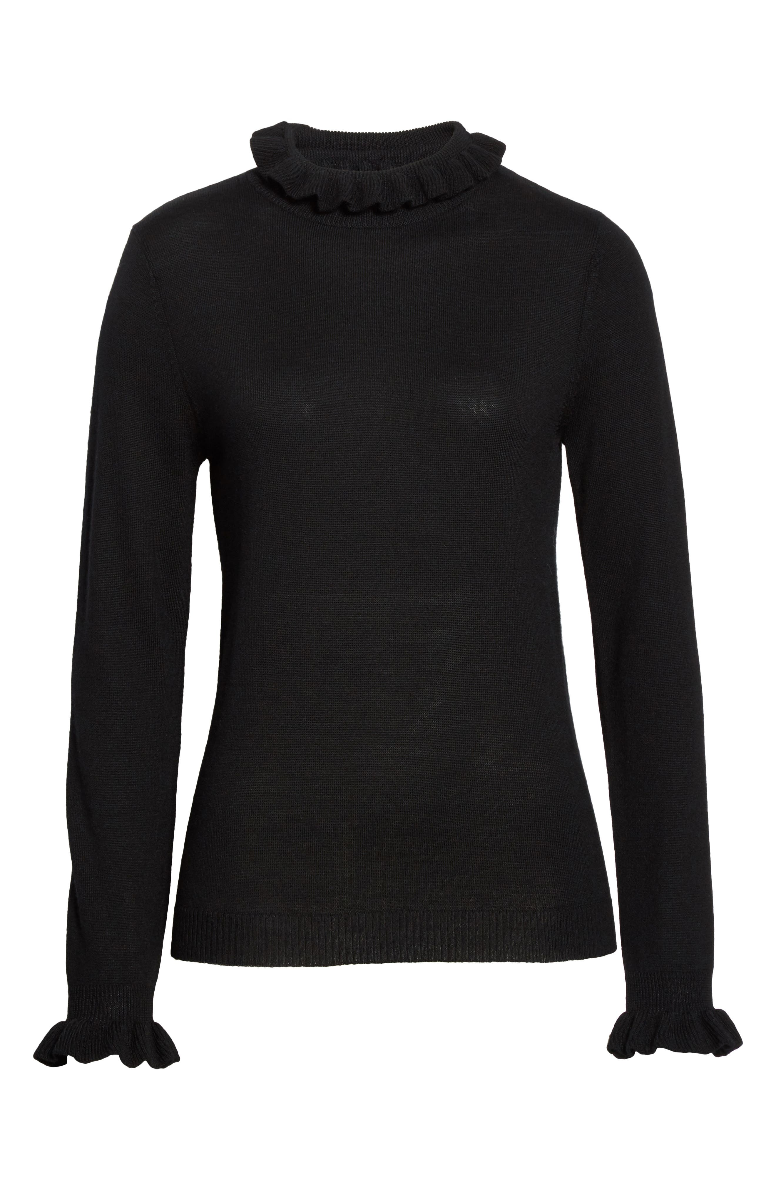 Robin Frill Wool Sweater,                             Alternate thumbnail 6, color,                             Black