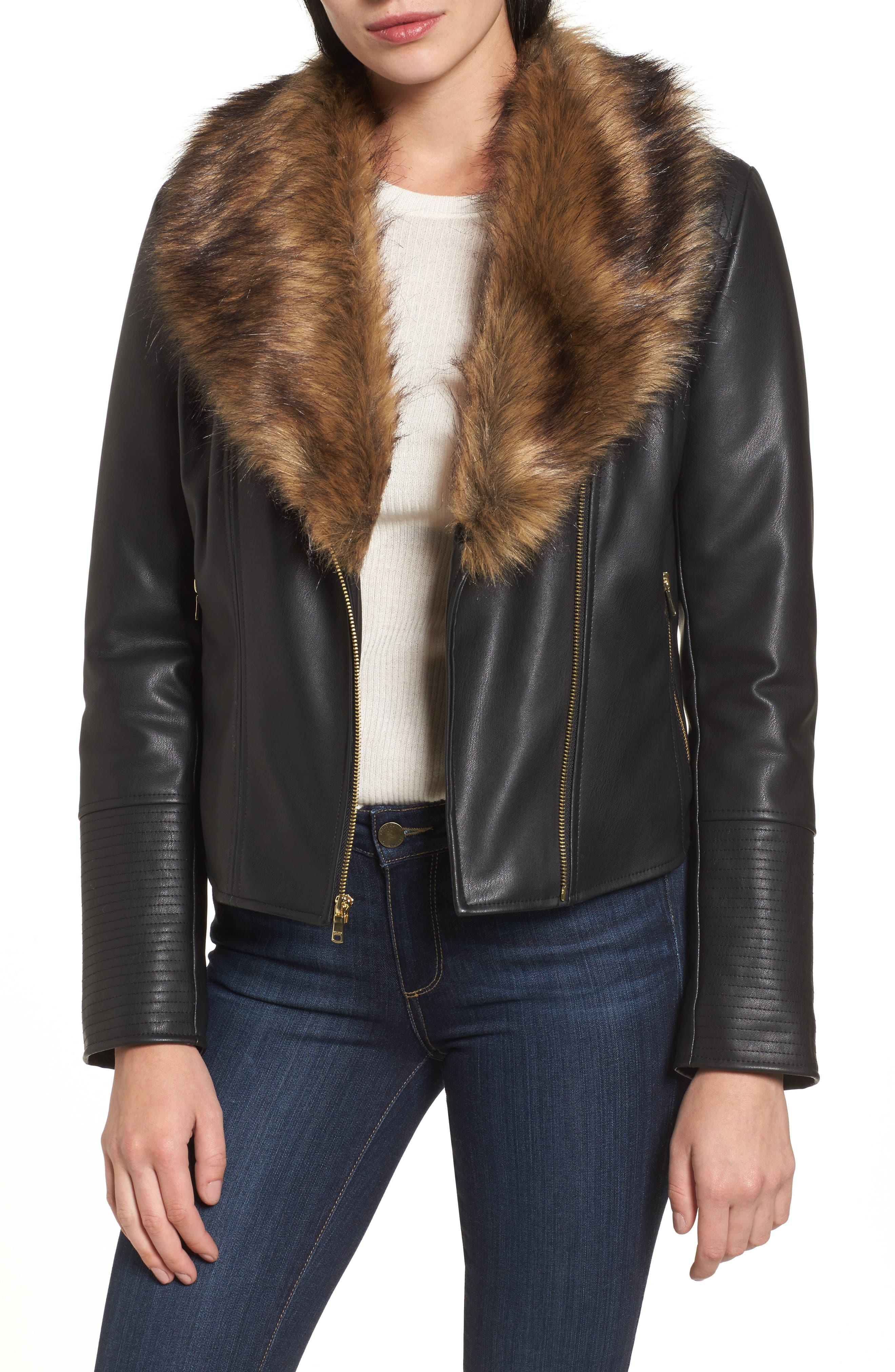 COLE HAAN SIGNATURE Faux Leather Jacket with Detachable Faux Fur