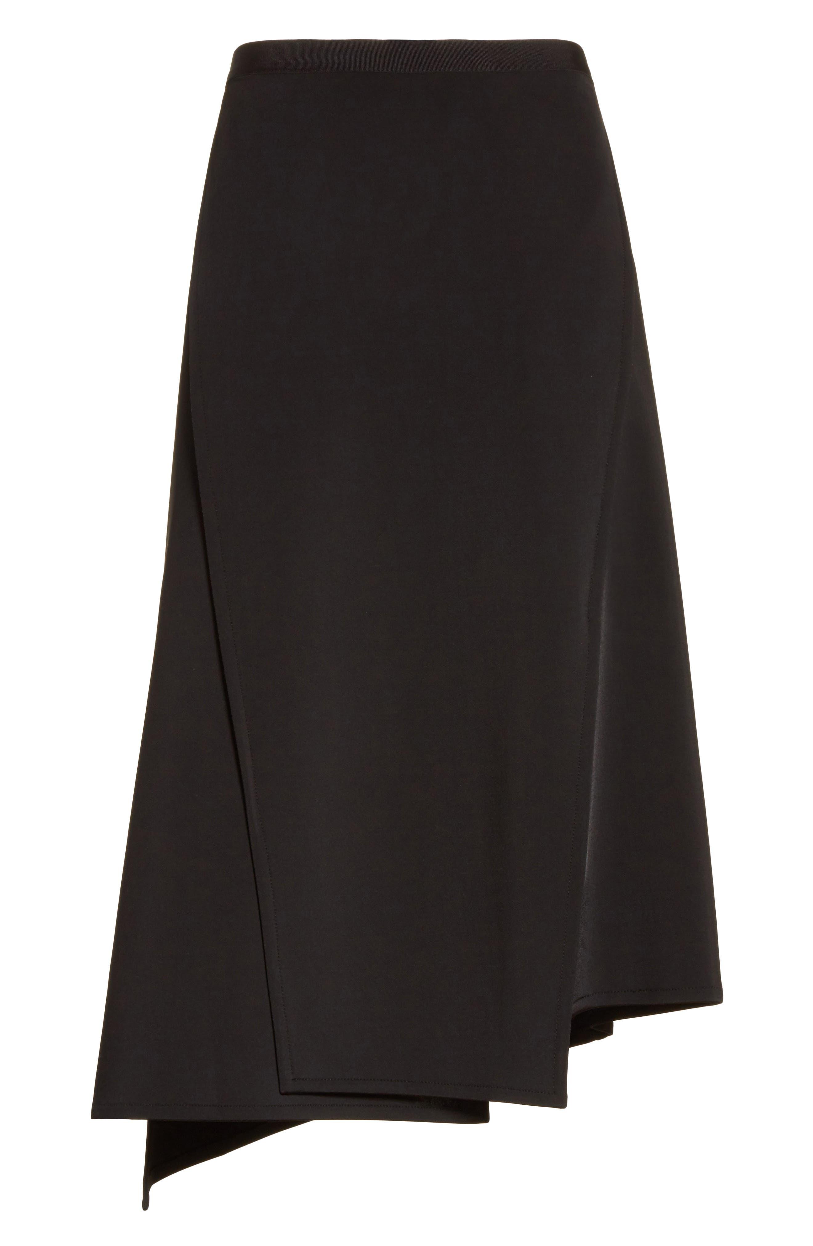 Bondage Jersey Asymmetrical Skirt,                             Alternate thumbnail 8, color,                             Black