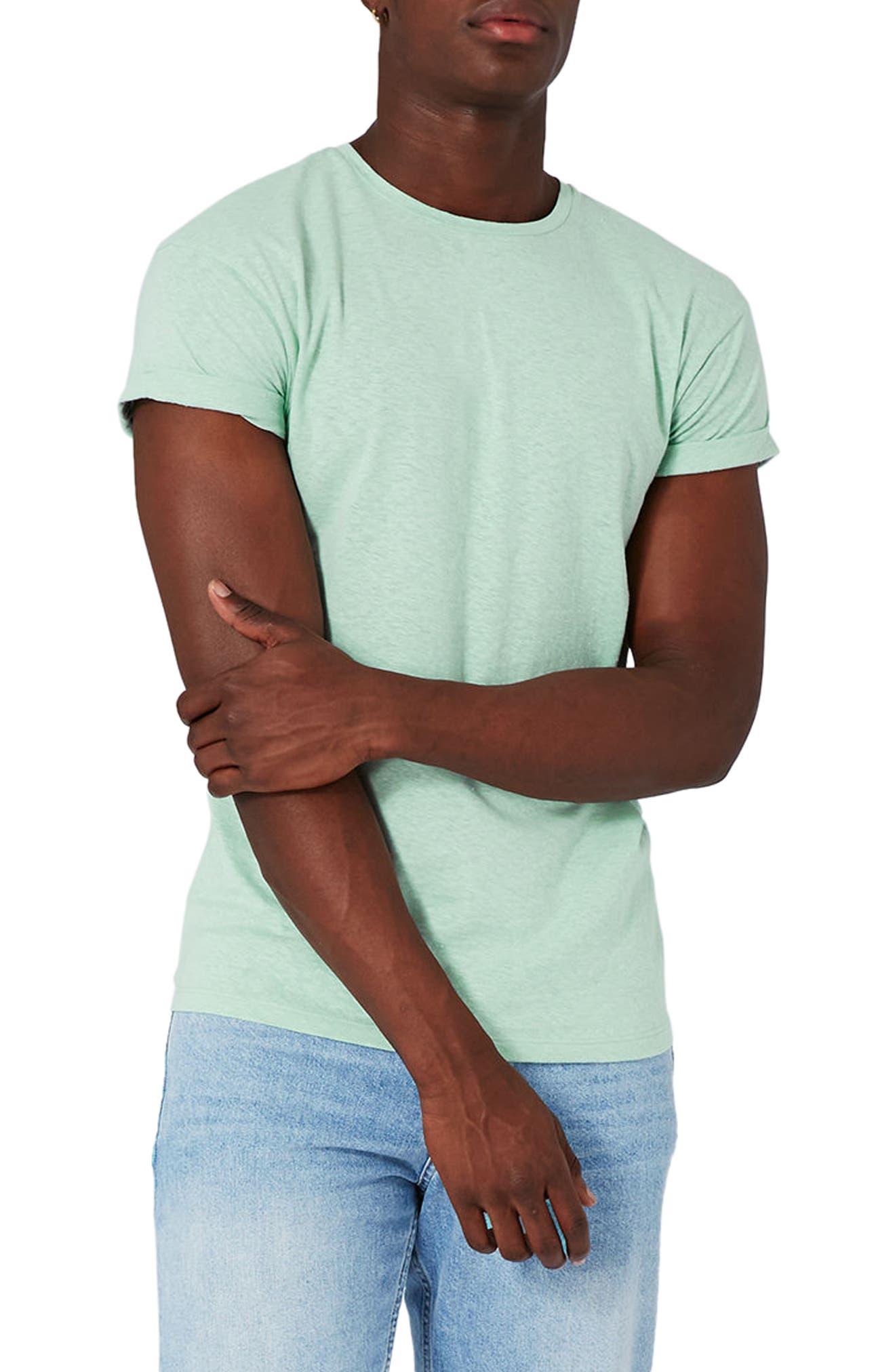 Topman Muscle Fit Roll Sleeve T-Shirt