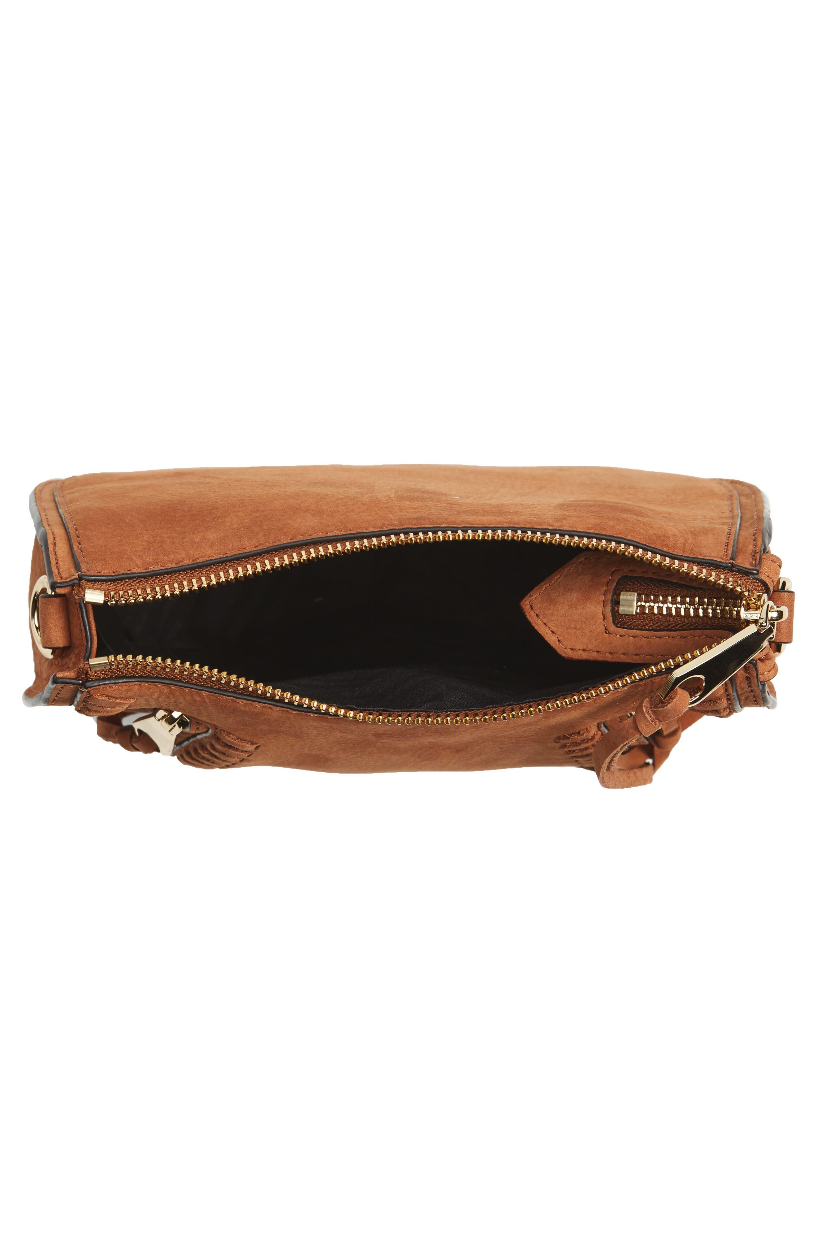 Mini Vanity Saddle Bag,                             Alternate thumbnail 4, color,                             Almond Nubuck