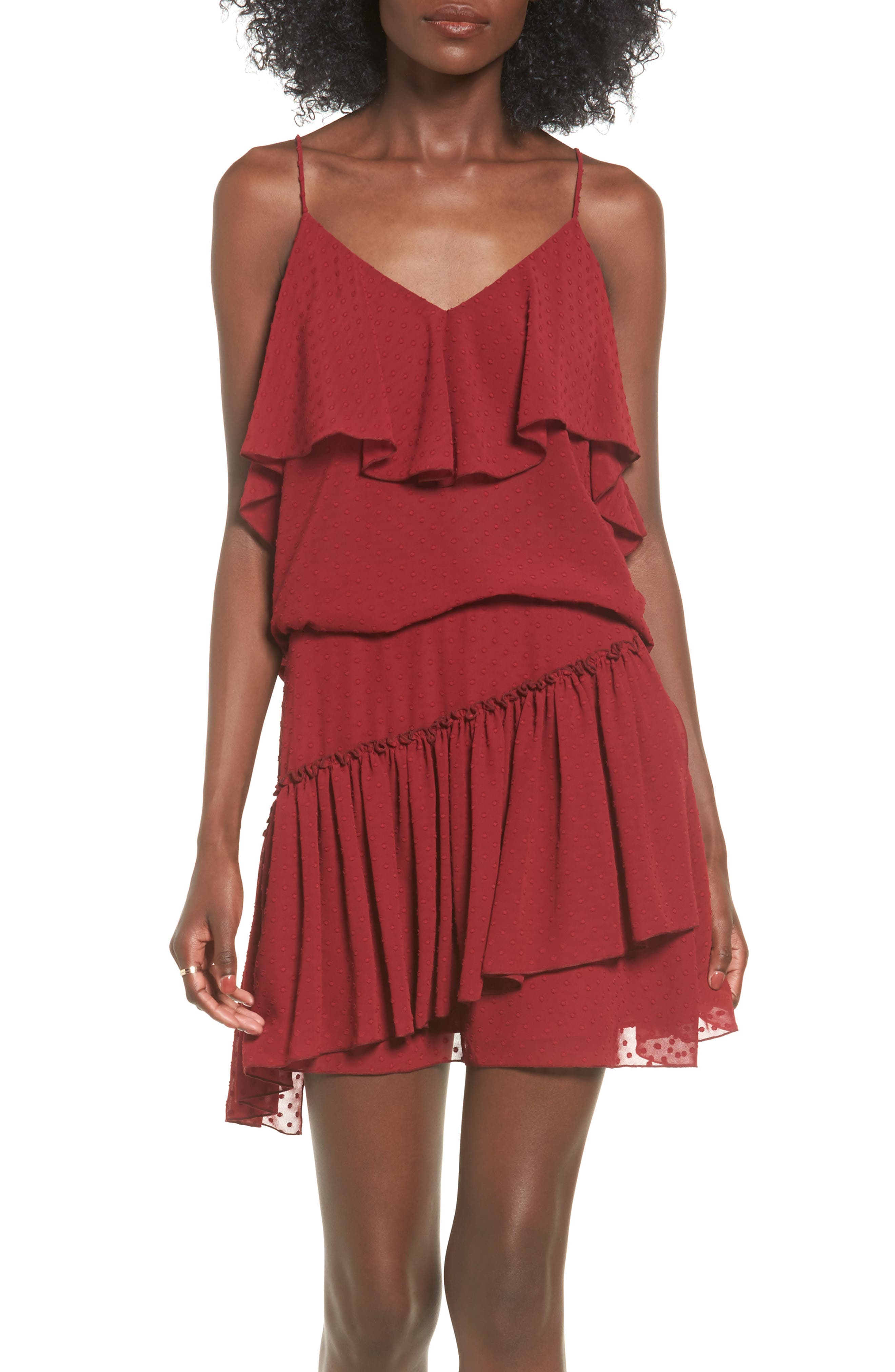 The Fifth Label Swiss Dot Ruffle Slip Dress